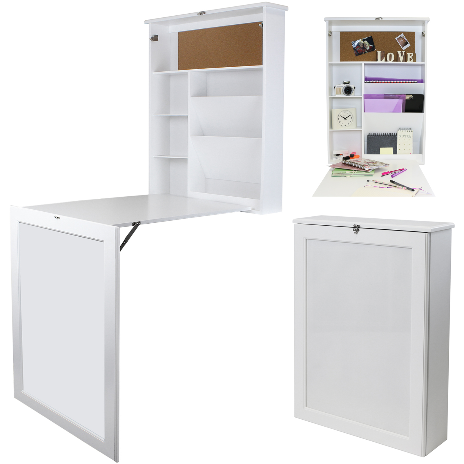 hartleys wall mounted fold out drop leaf table folding desk whiteboard storage ebay. Black Bedroom Furniture Sets. Home Design Ideas