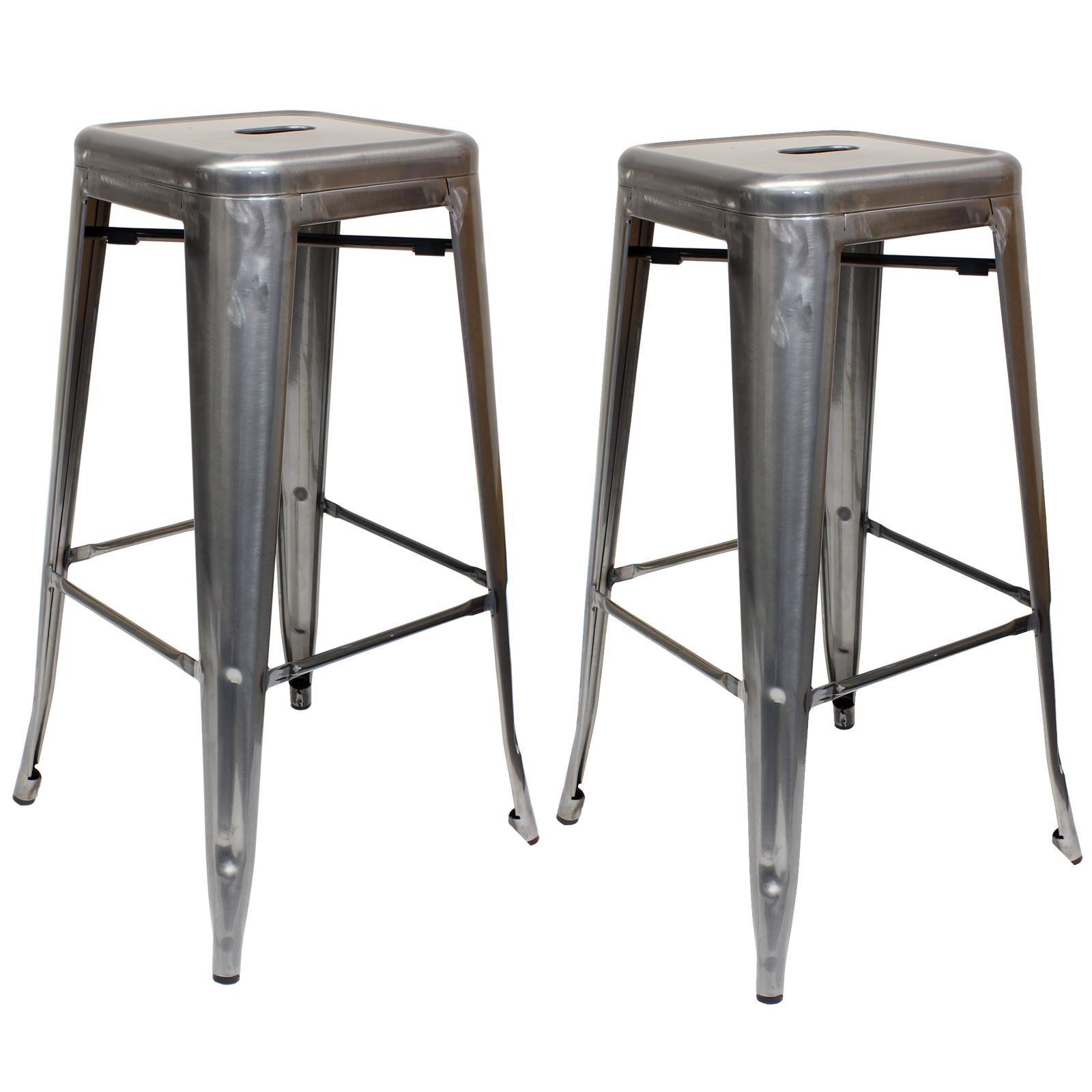 Gunmetal Metal Stool Breakfast Bar Seat Chair Industrial
