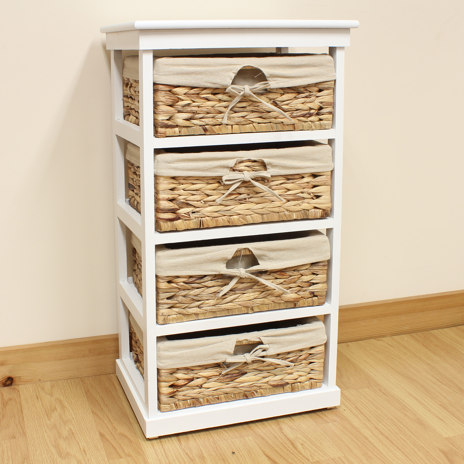 Hartleys Large White 4 Basket Home Storage Unit Bathroom Wicker Lined Drawers