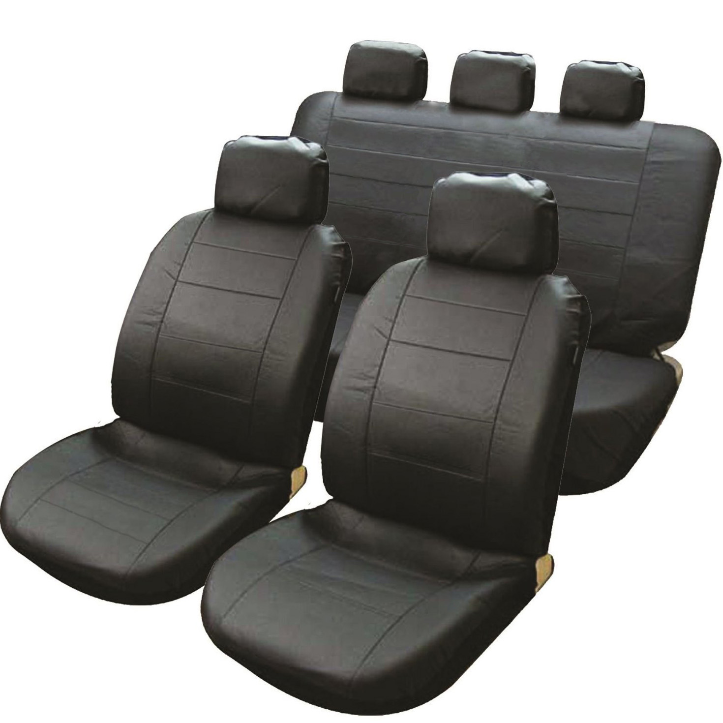 black leather look car taxi air bag friendly seat covers set split rear seats ebay. Black Bedroom Furniture Sets. Home Design Ideas
