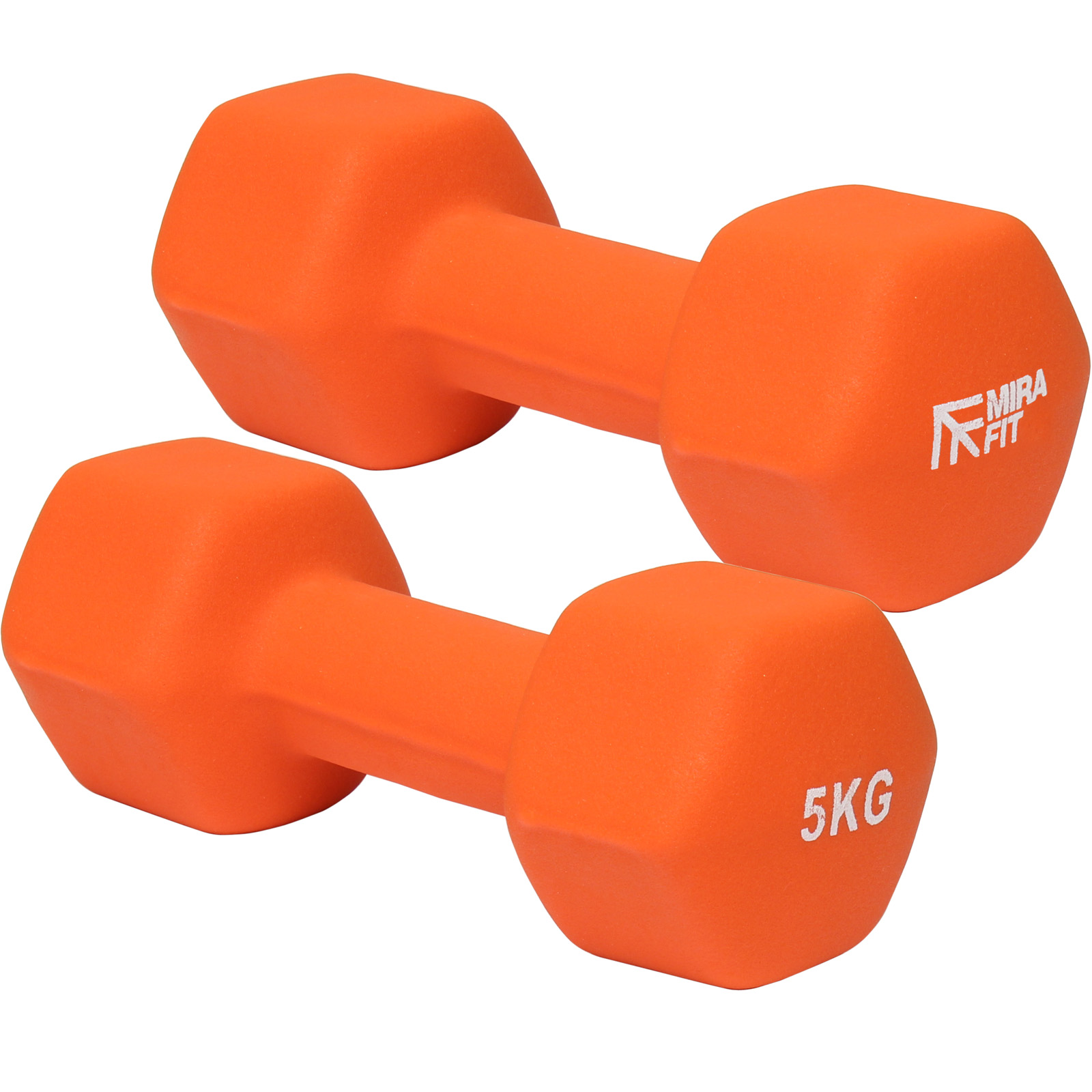 Mirafit Orange Hex Dumbbells Weights Aerobic Gym Exercise