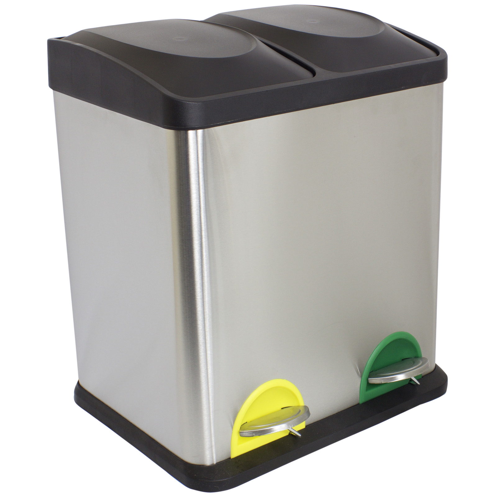 sale 30 litre double recycling pedal bin twin compartment damaged packet 756. Black Bedroom Furniture Sets. Home Design Ideas