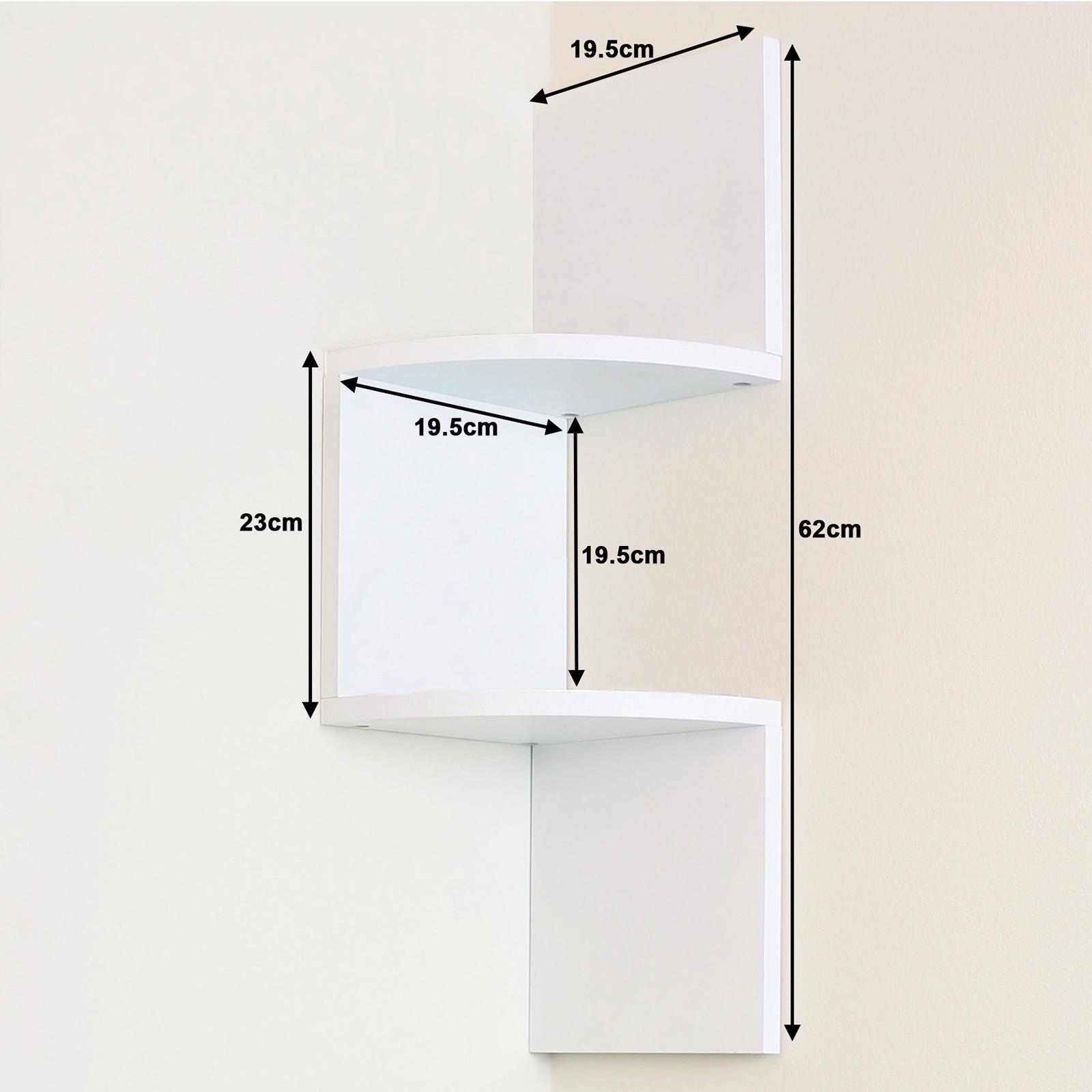2 Tier White Wall Mounted Zigzag Corner Floating Shelf