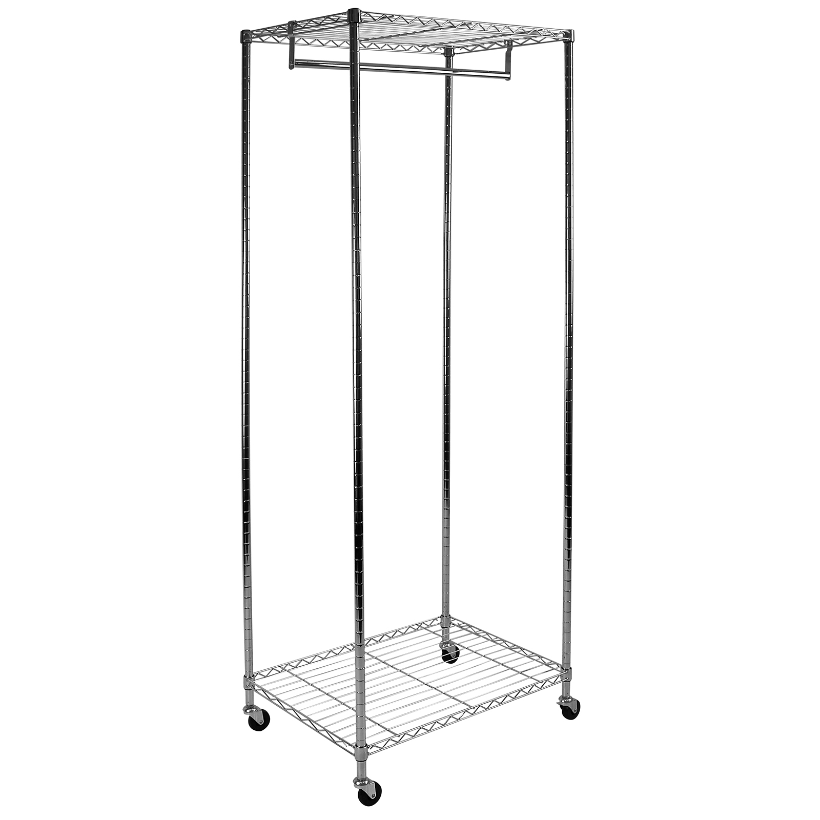 Hartleys Metal Garment Rack Hanging Clothes Storage Chrome