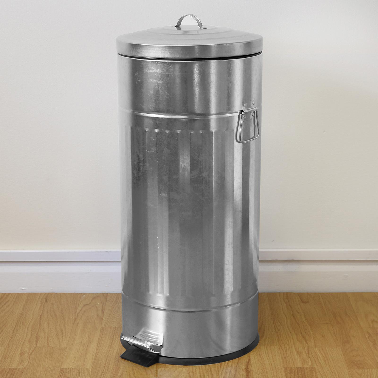 large retro galvanised steel round foot pedal kitchen bin. Black Bedroom Furniture Sets. Home Design Ideas