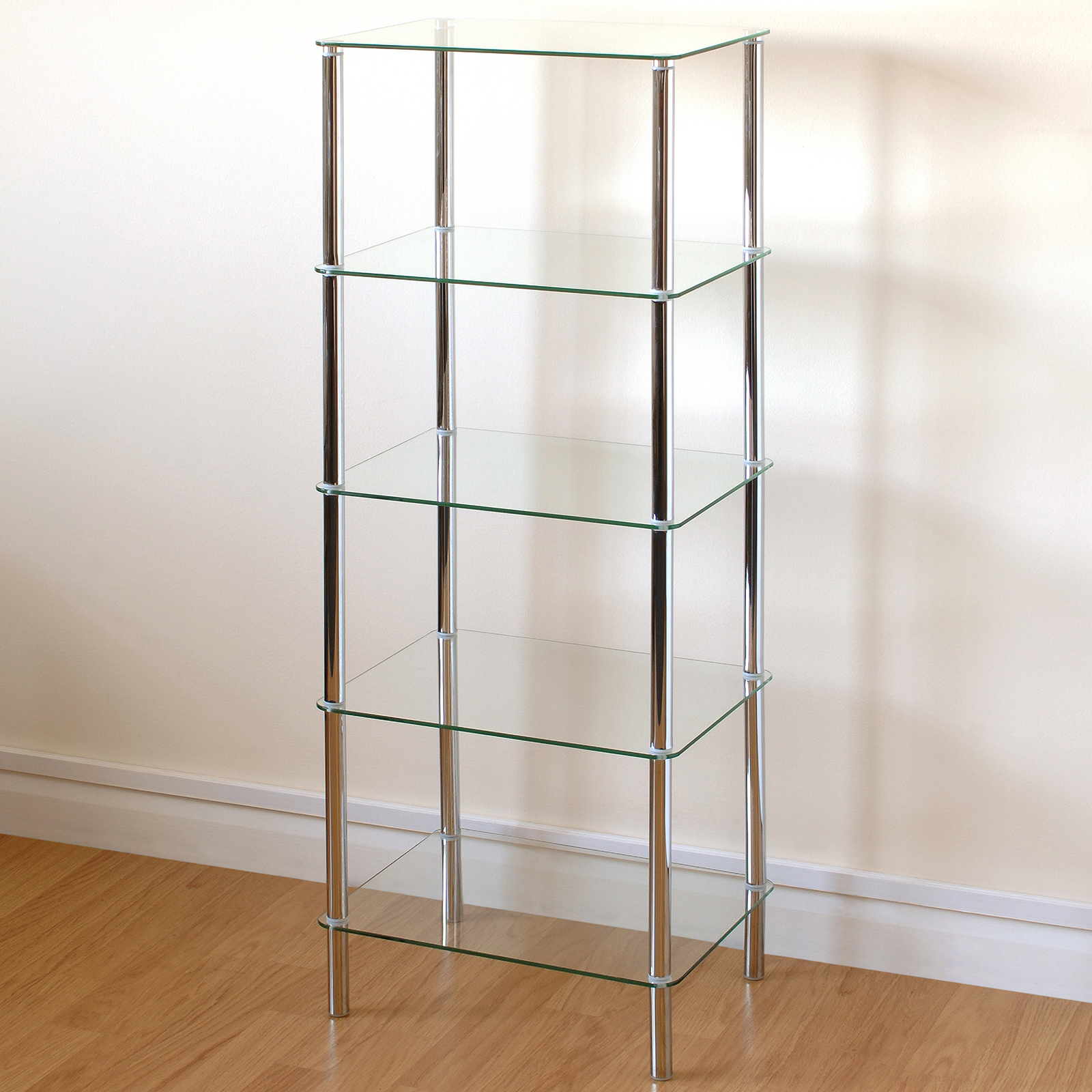 Hartleys Clear Glass 5 Tier Side Table Display Shelf Unit Lounge Living Room Ebay