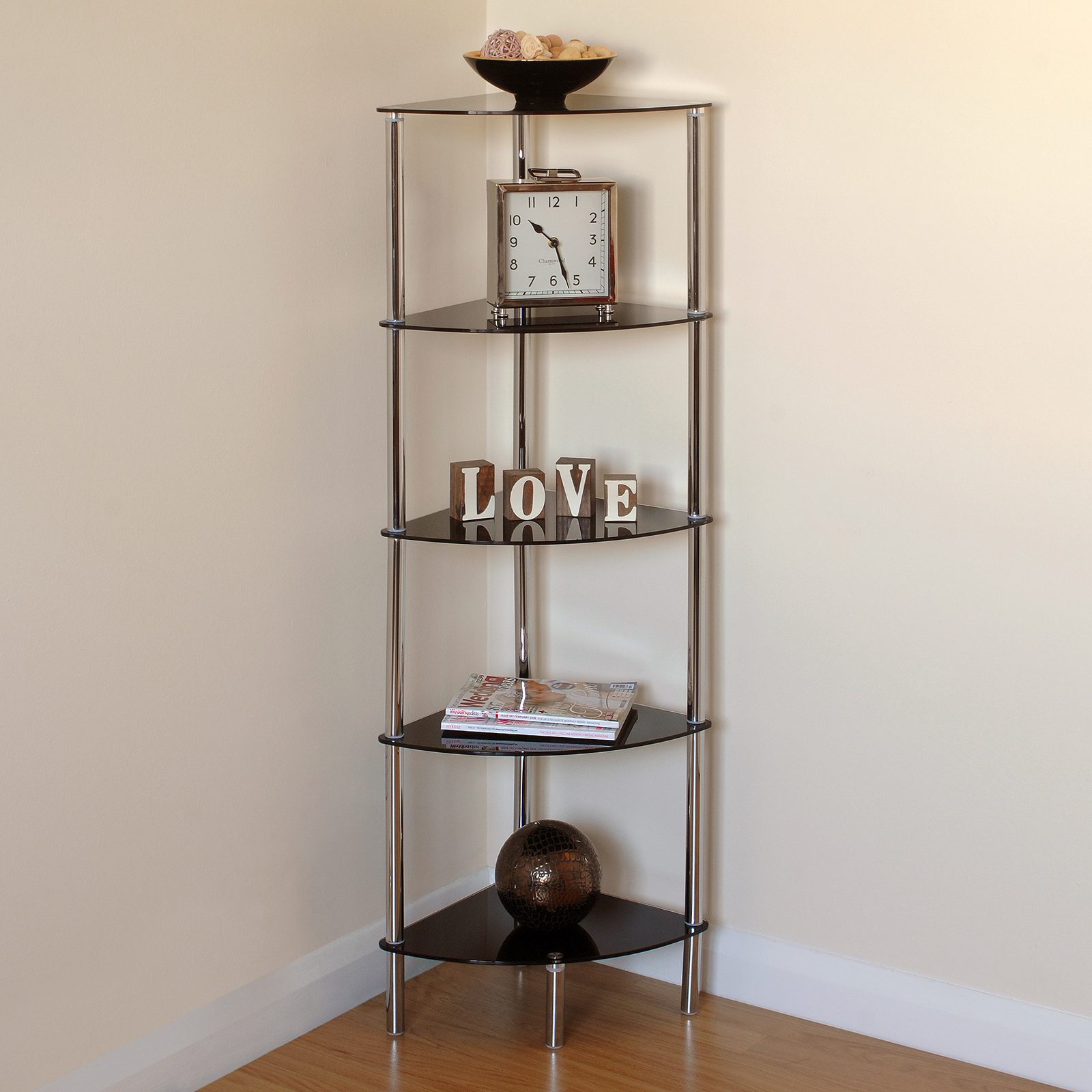Hartleys 5 Tier Black Glass Side Corner Shelf Display Unit
