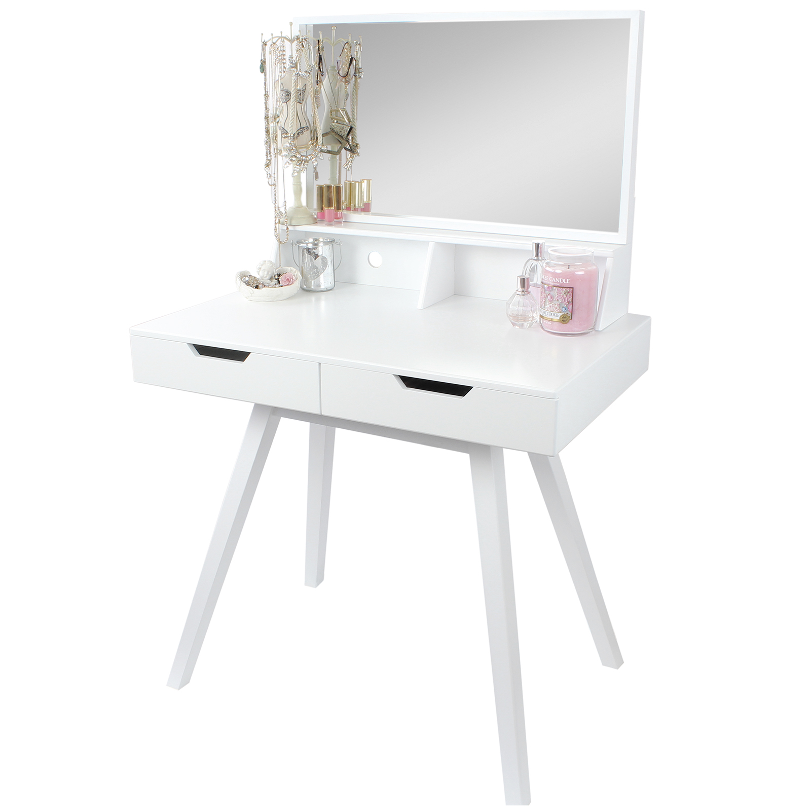 Hartleys white dressing table makeup jewellery storage for White vanity table no mirror