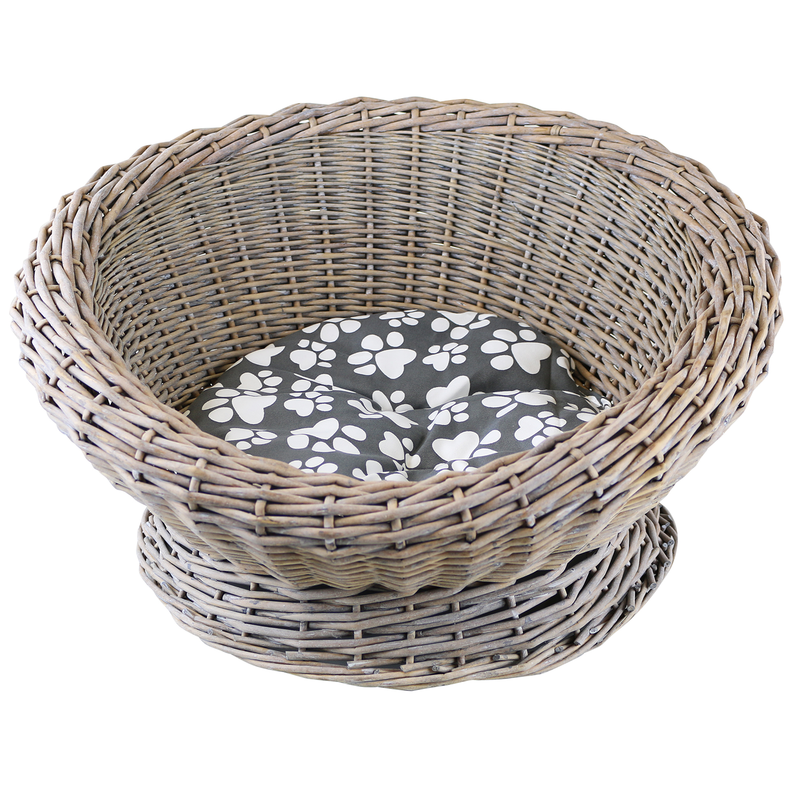 How To Weave A Cat Basket : Me my woven wicker cat kitten round pet bed basket igloo