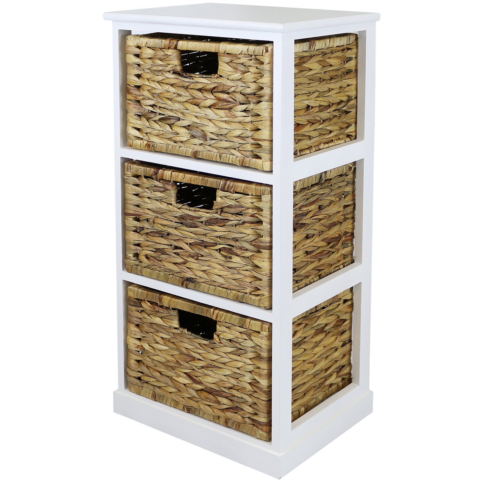 Hartleys White 3 Basket Chest Home Storage Unit Wicker Drawers Cabinet Bathroom