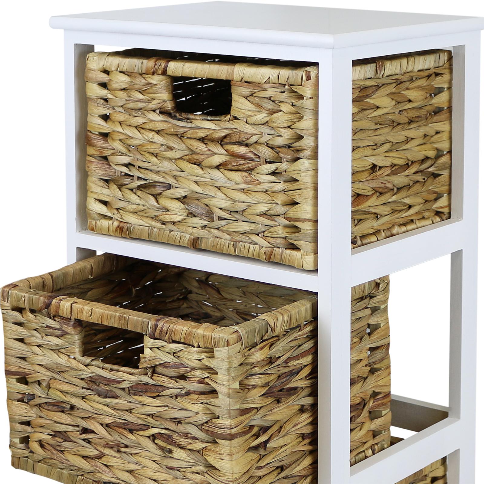 Wicker Bathroom Storage Drawers: HARTLEYS WHITE 3 BASKET CHEST HOME STORAGE UNIT WICKER