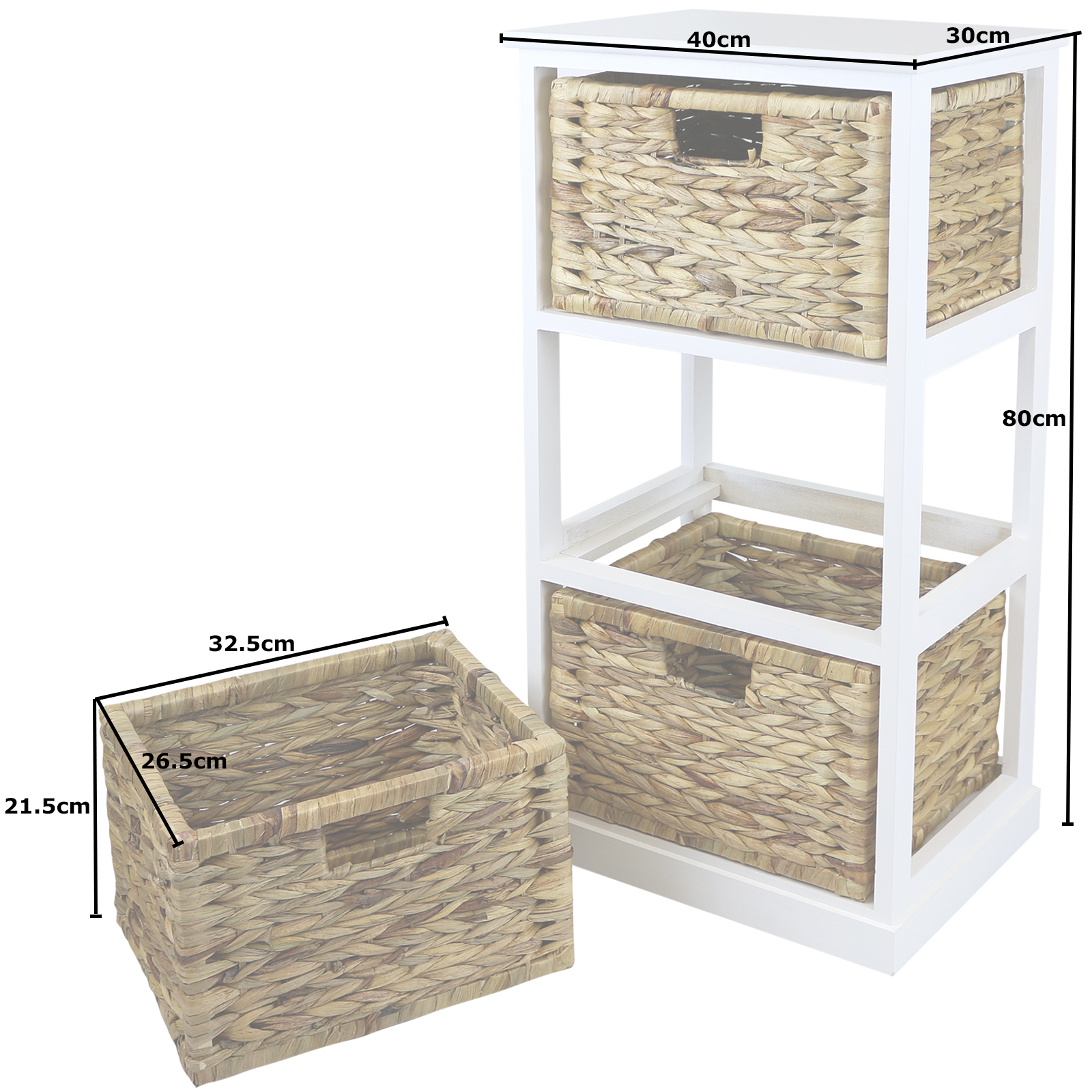 Hartleys white 3 basket chest home storage unit wicker for Bathroom cabinets 40cm wide