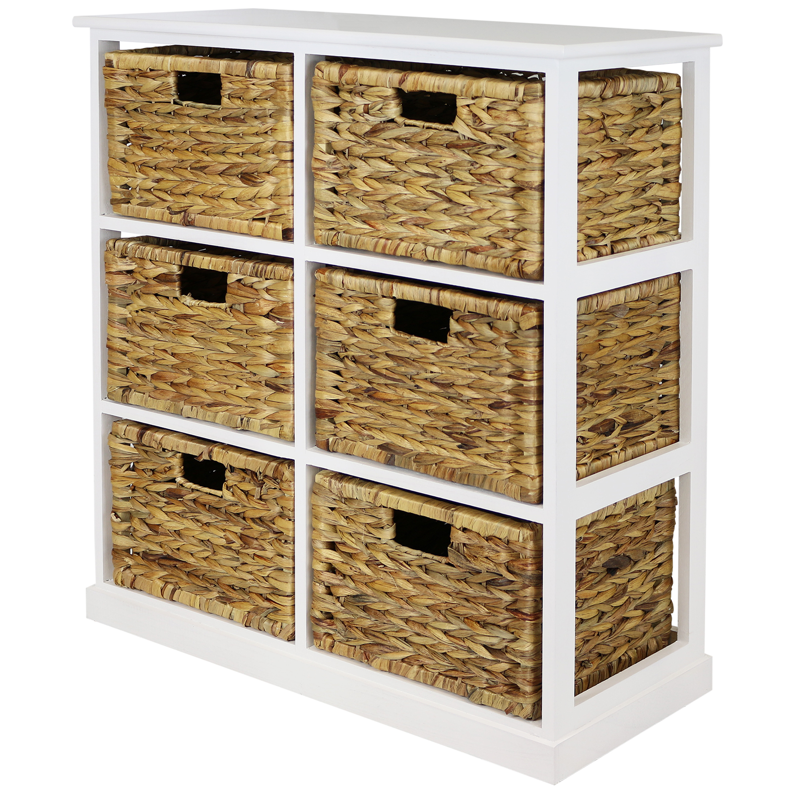 Buy Wicker Storage Basket Kitchen Drawer Style From The: HARTLEYS 2x3 WHITE WOOD HOME STORAGE UNIT 6 WICKER DRAWER