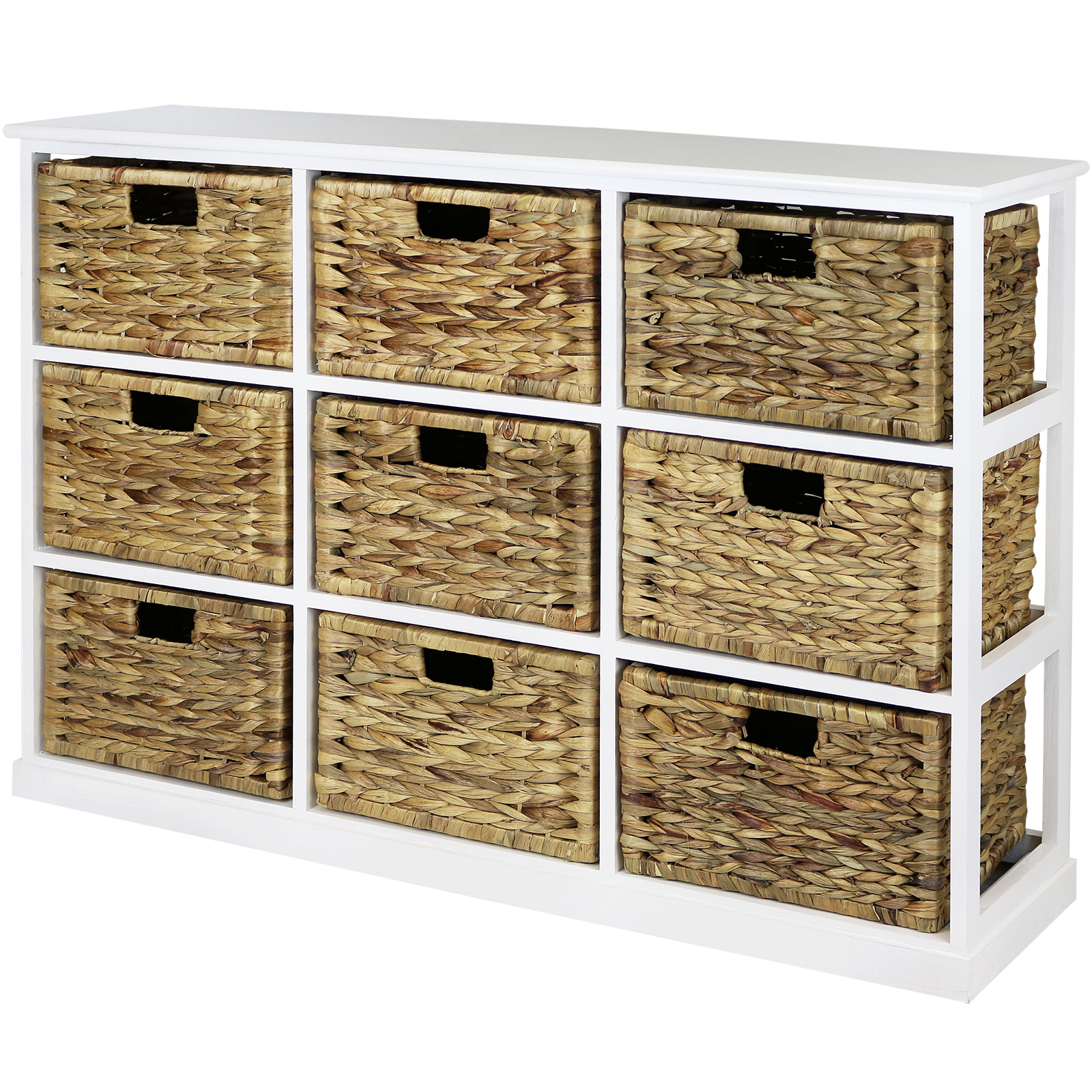 Hartleys 3x3 White Wood Home Storage Unit 9 Wicker Drawer