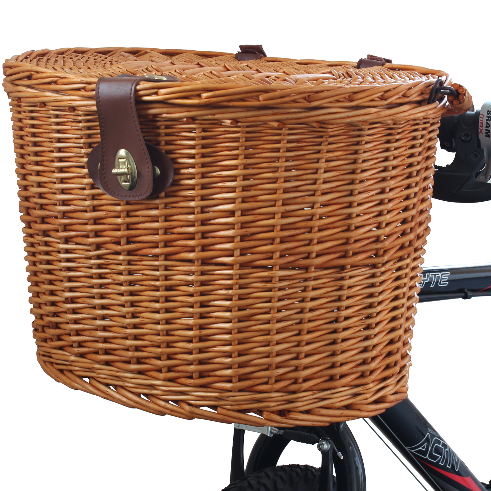 Wicker Bike Basket With Handle : Wicker bicycle front picnic basket with lid carry handle