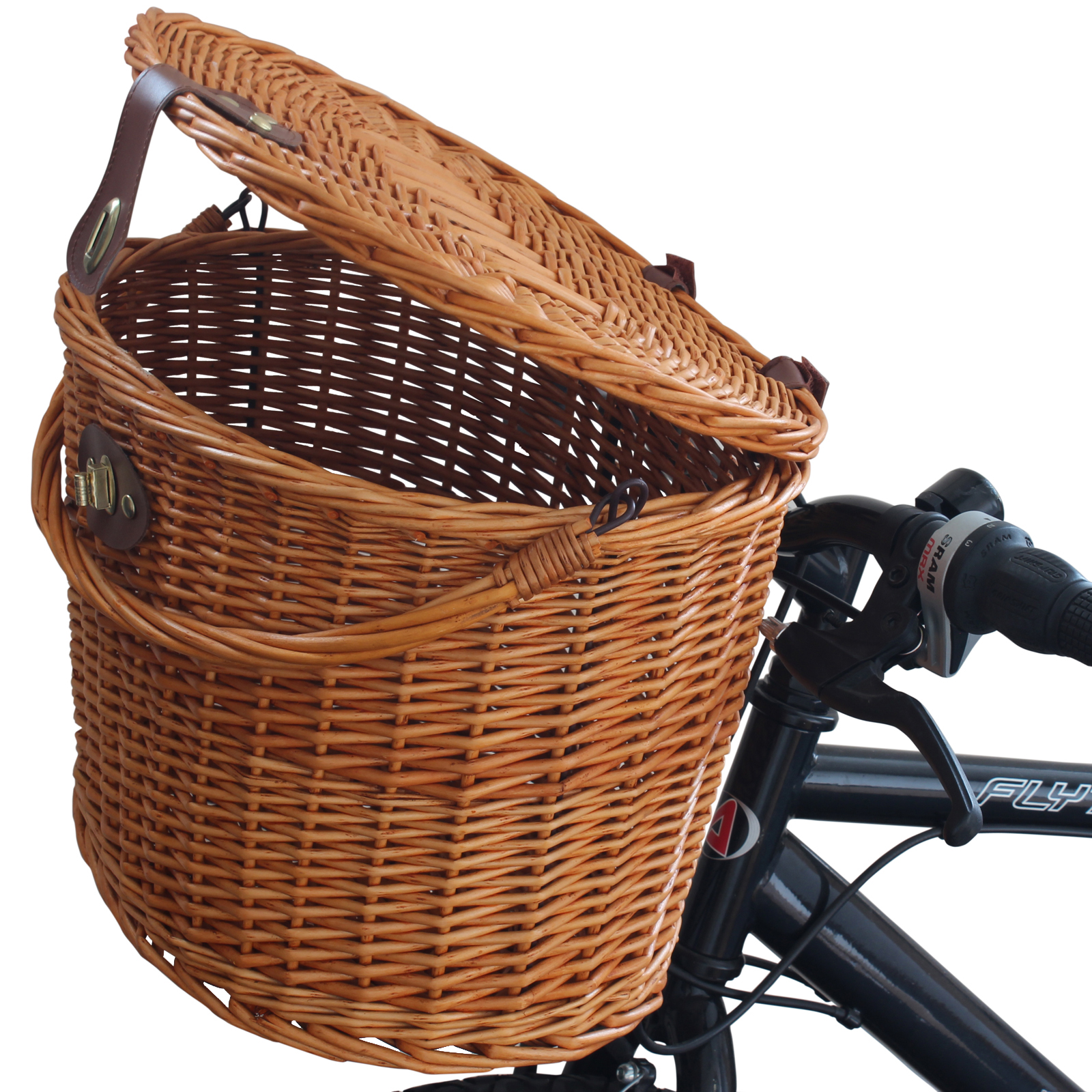 Wicker Bicycle Basket With Handle : Wicker bicycle front picnic basket with lid carry handle
