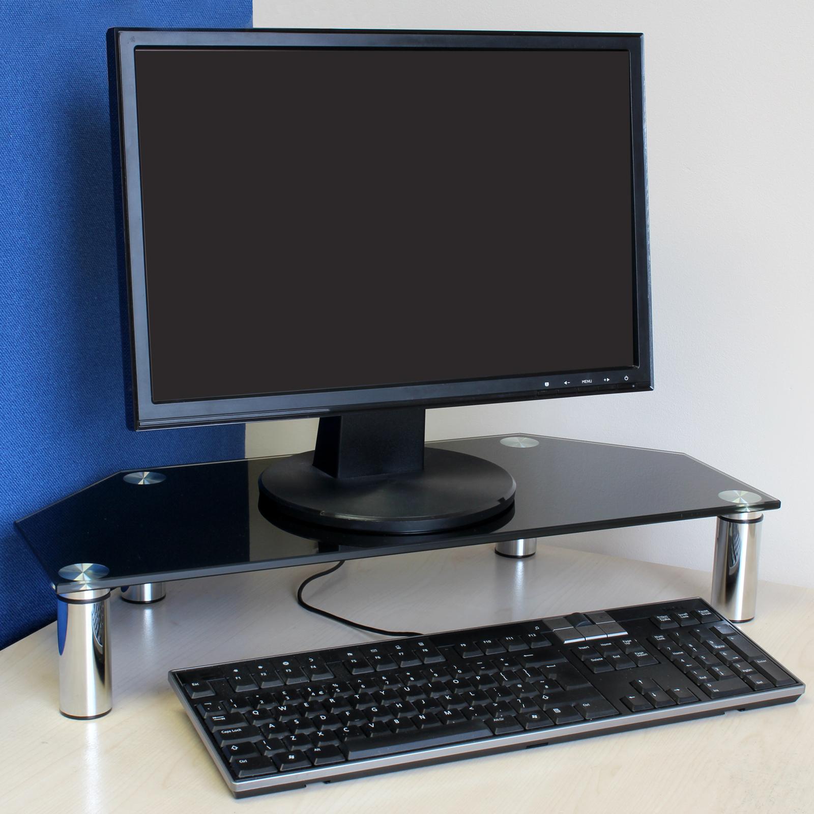 Mac Computer Desk Black Glass Corner Monitor Desk Riser For Computerpcmac Keyboard