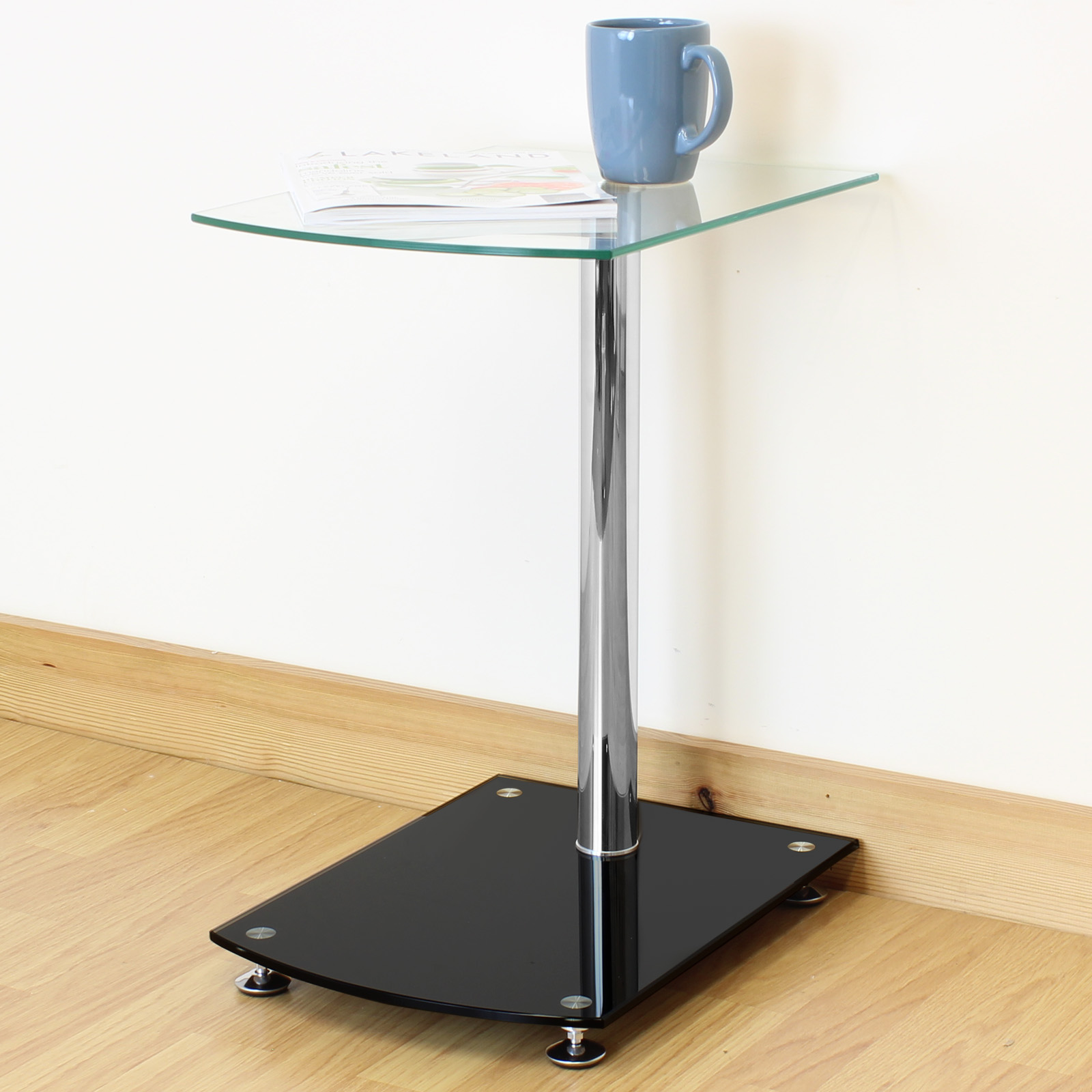 Bedroom Sofa Table: Black & Clear Glass Side/End/Sofa Table Lounge/Bedroom