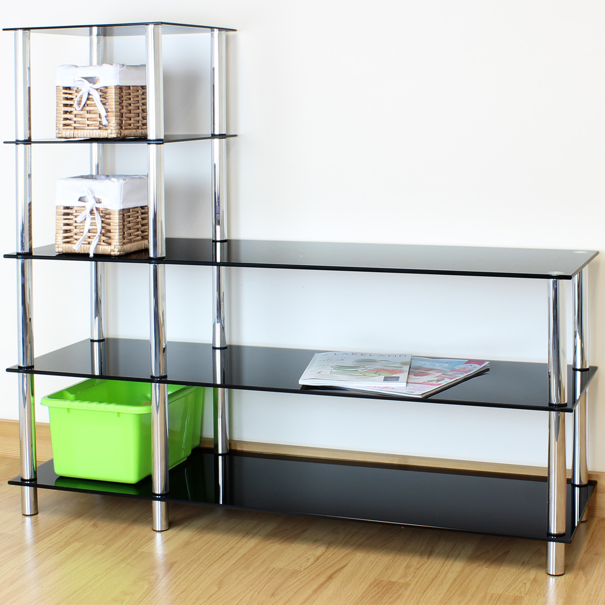 L Shape Black Glass 5 Tier Shelf Display Unit Office