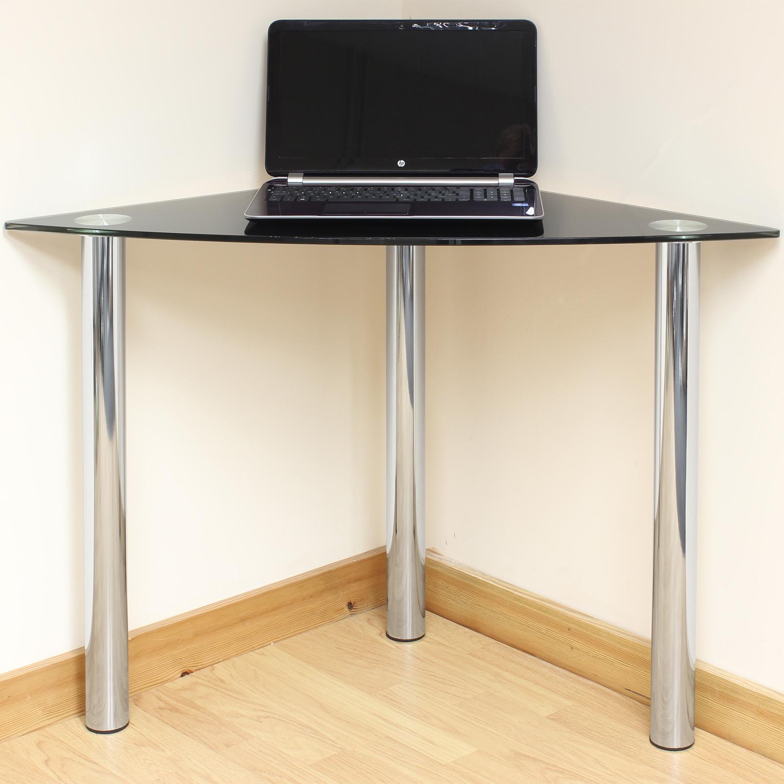 Black Glass Corner Computer Pc Laptop Desk Home Office