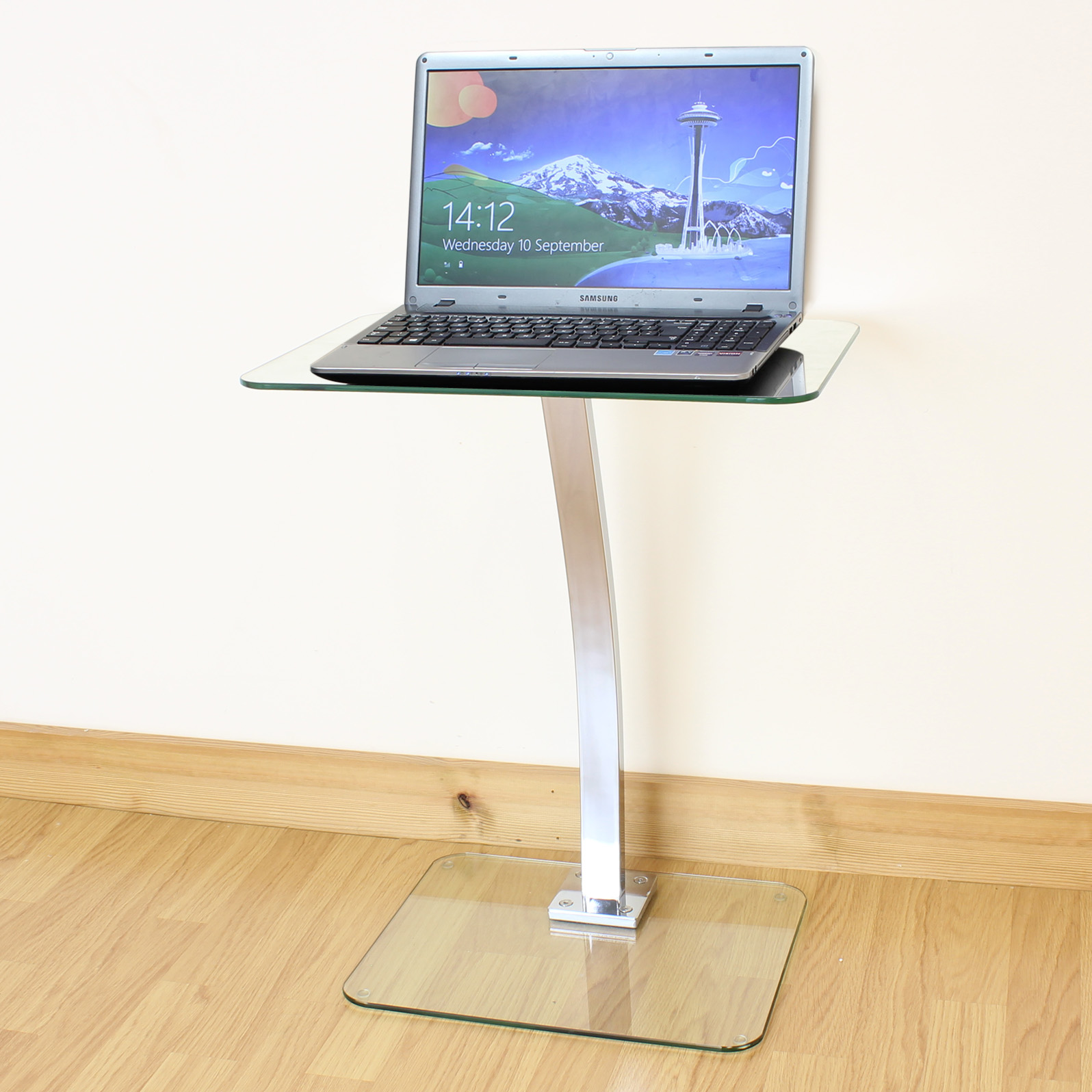 Clear Glass Laptop Notebook Table Desktop Stand Sofa