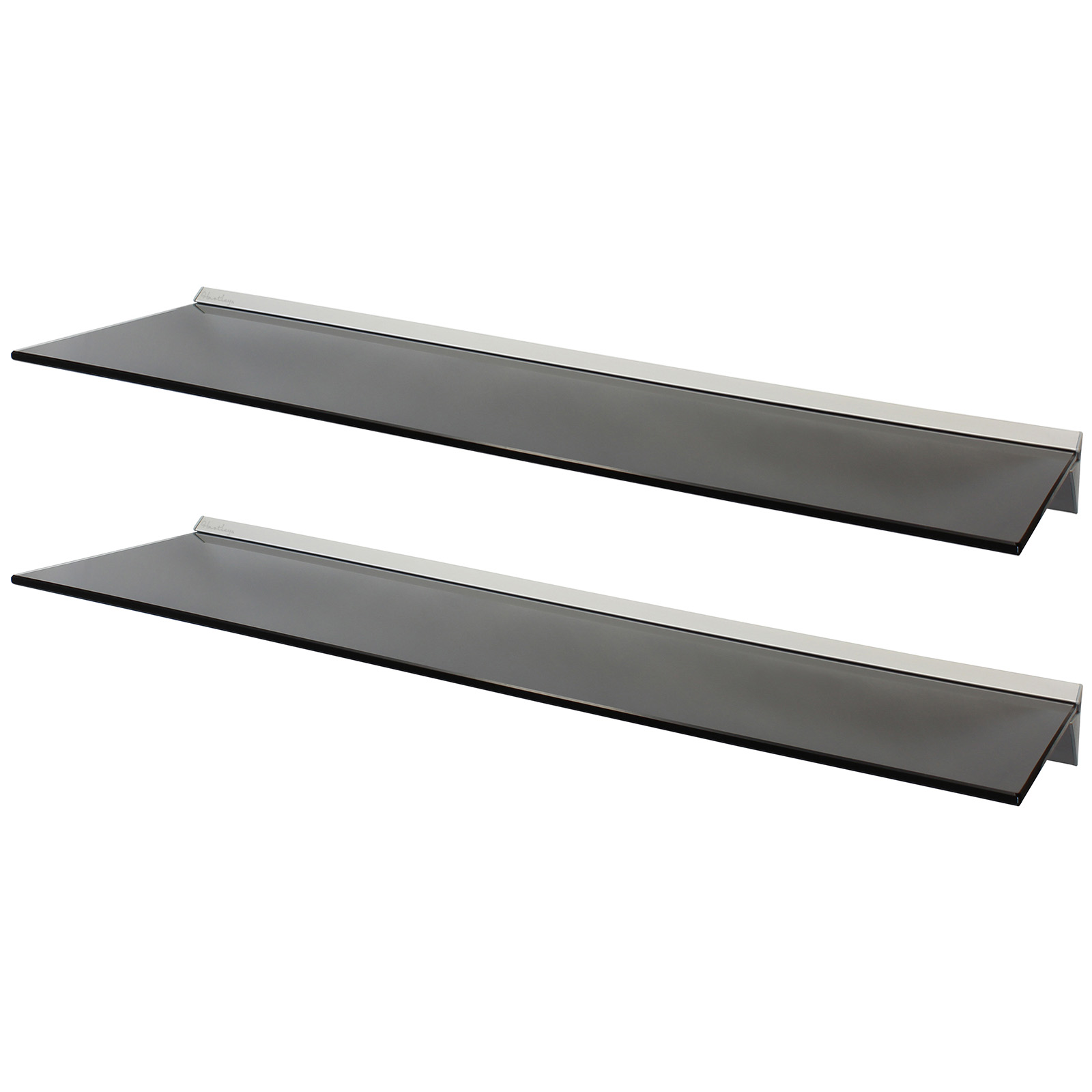 HARTLEYS PAIR 2x 100cm BLACK FLOATING GLASS WALL SHELVES