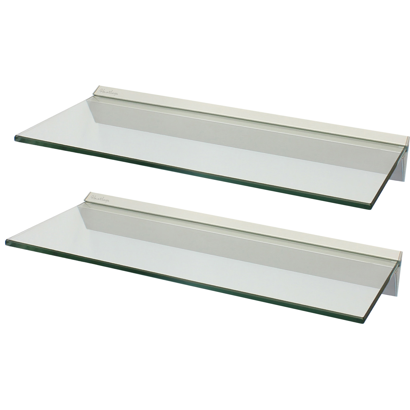 Hartleys Pair 2x 60cm Clear Floating Glass Wall Shelves