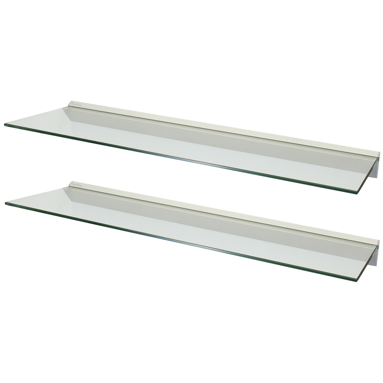 HARTLEYS PAIR 2x 100cm CLEAR FLOATING GLASS WALL SHELVES