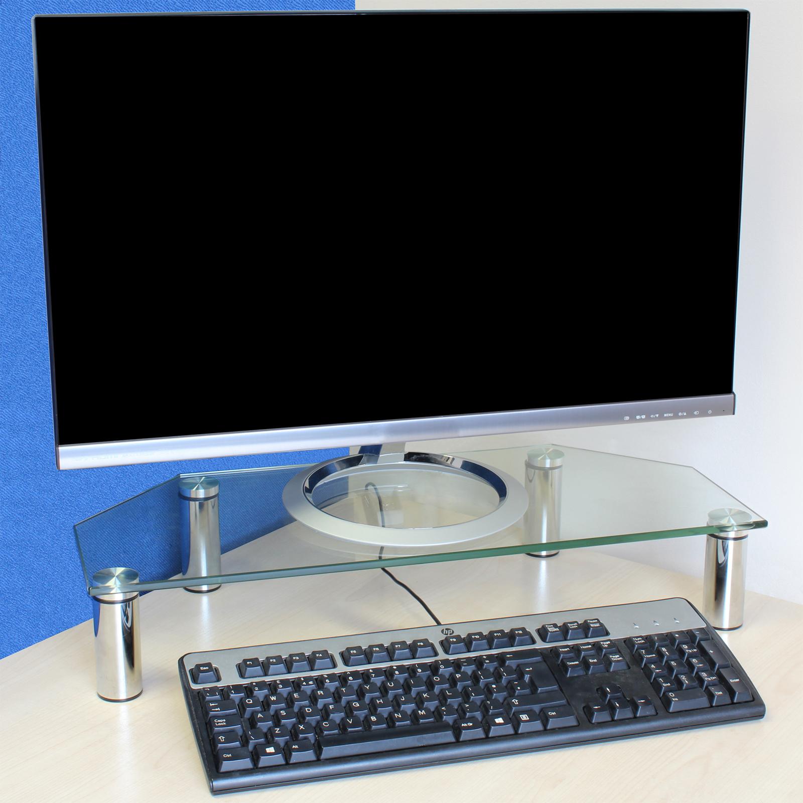 Clear Gl Corner Monitor Desk Riser For Computer Pc Mac Keyboard Screen