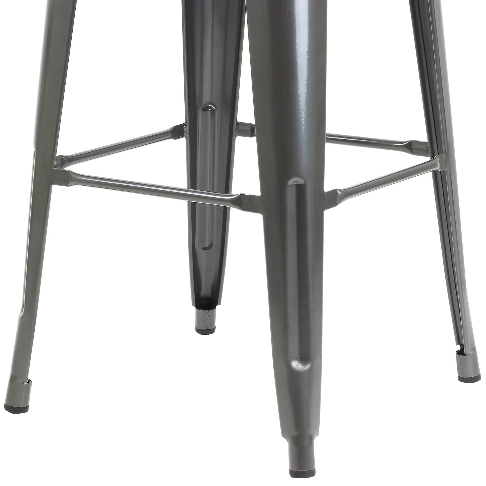 Gunmetal Grey Metal Breakfast Bar Stool Industrial Retro