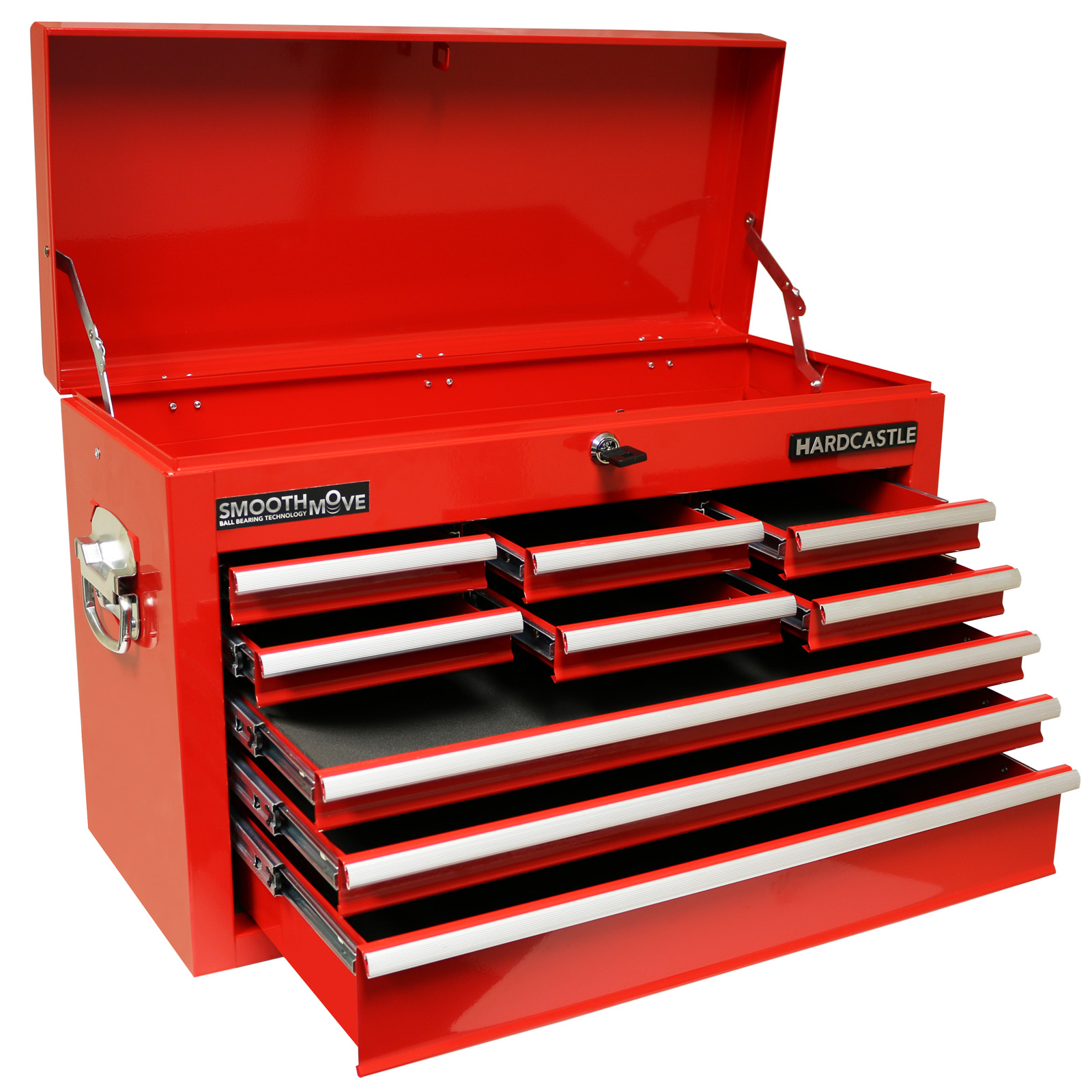 Hardcastle Red 9 Drawer Metal Top Chest Tool Storage Box