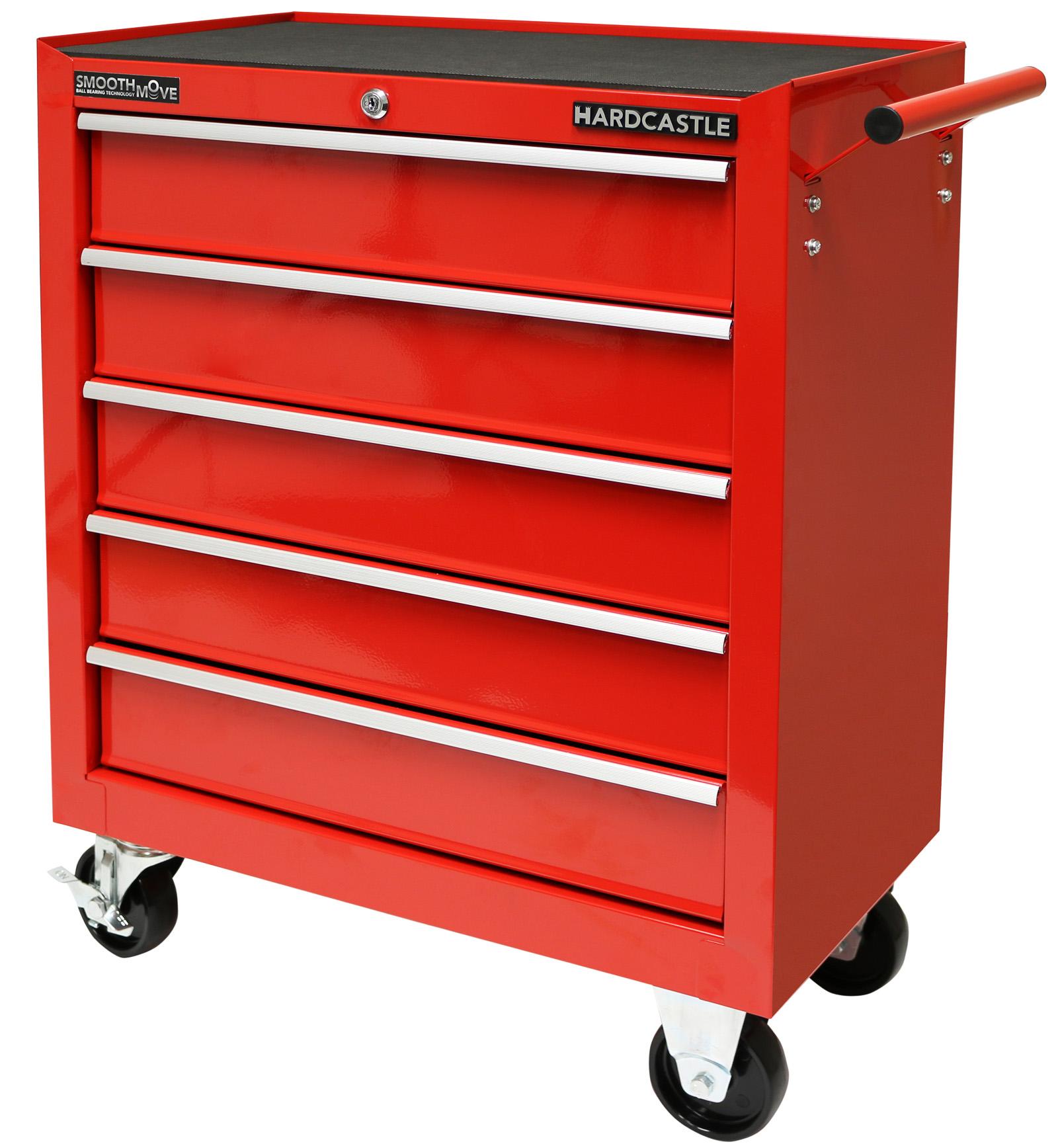red metal 5 drawer lockable tool chest storage box roller cabinet rolling cab ebay. Black Bedroom Furniture Sets. Home Design Ideas