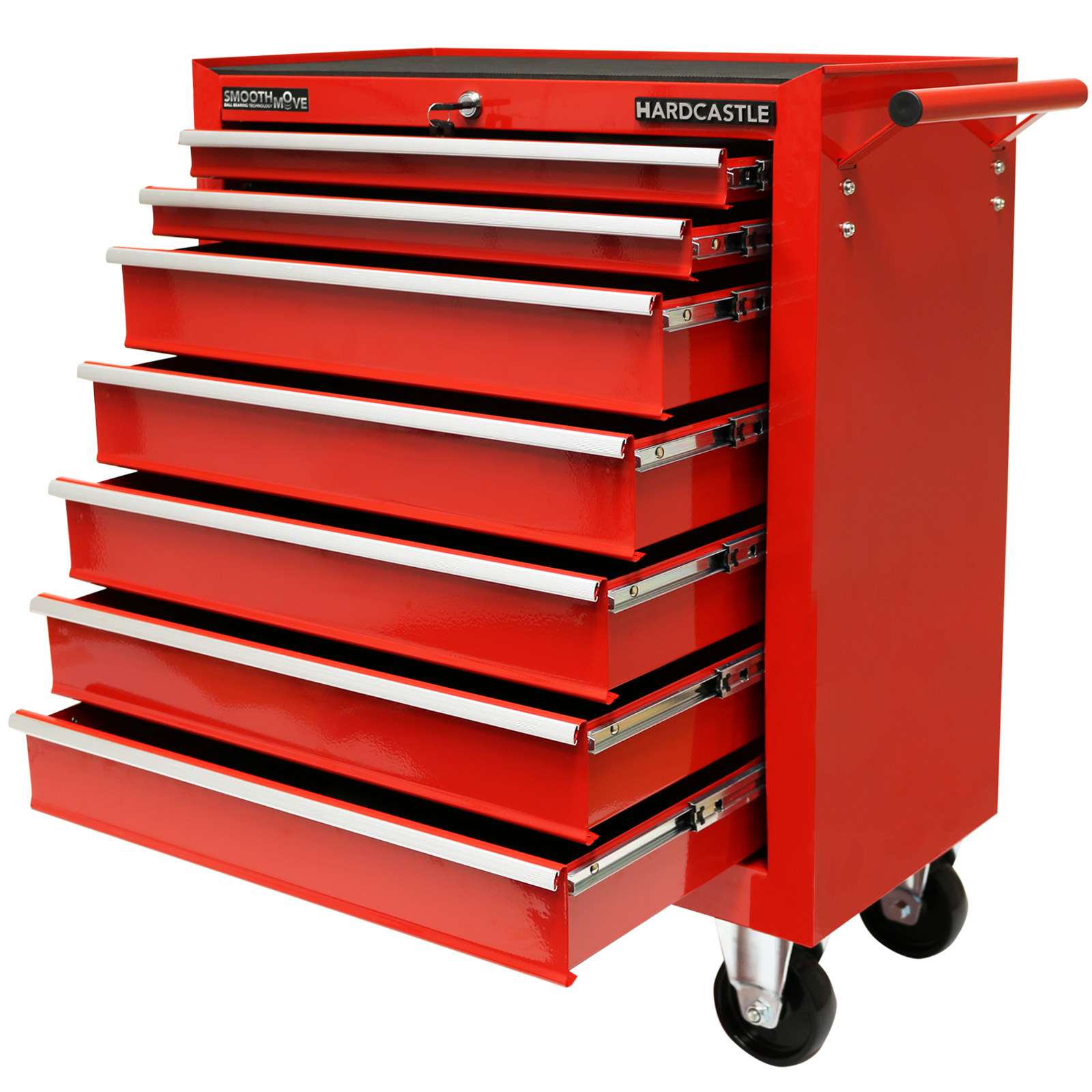 Red metal drawer lockable tool chest box storage roller