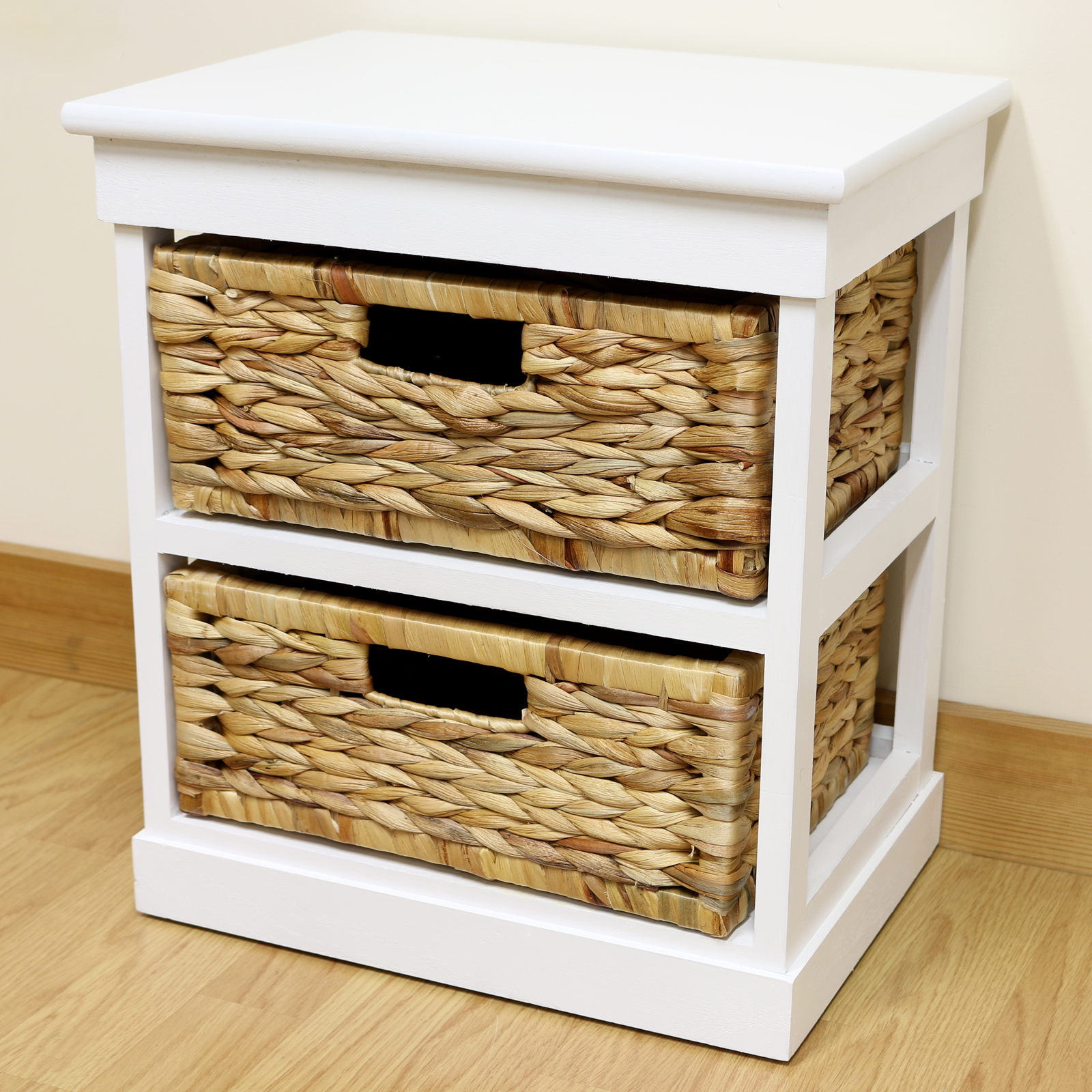 White 2 Drawer Basket Bedside Cabinet Home Storage Unit Lounge Bathroom Seagrass Ebay
