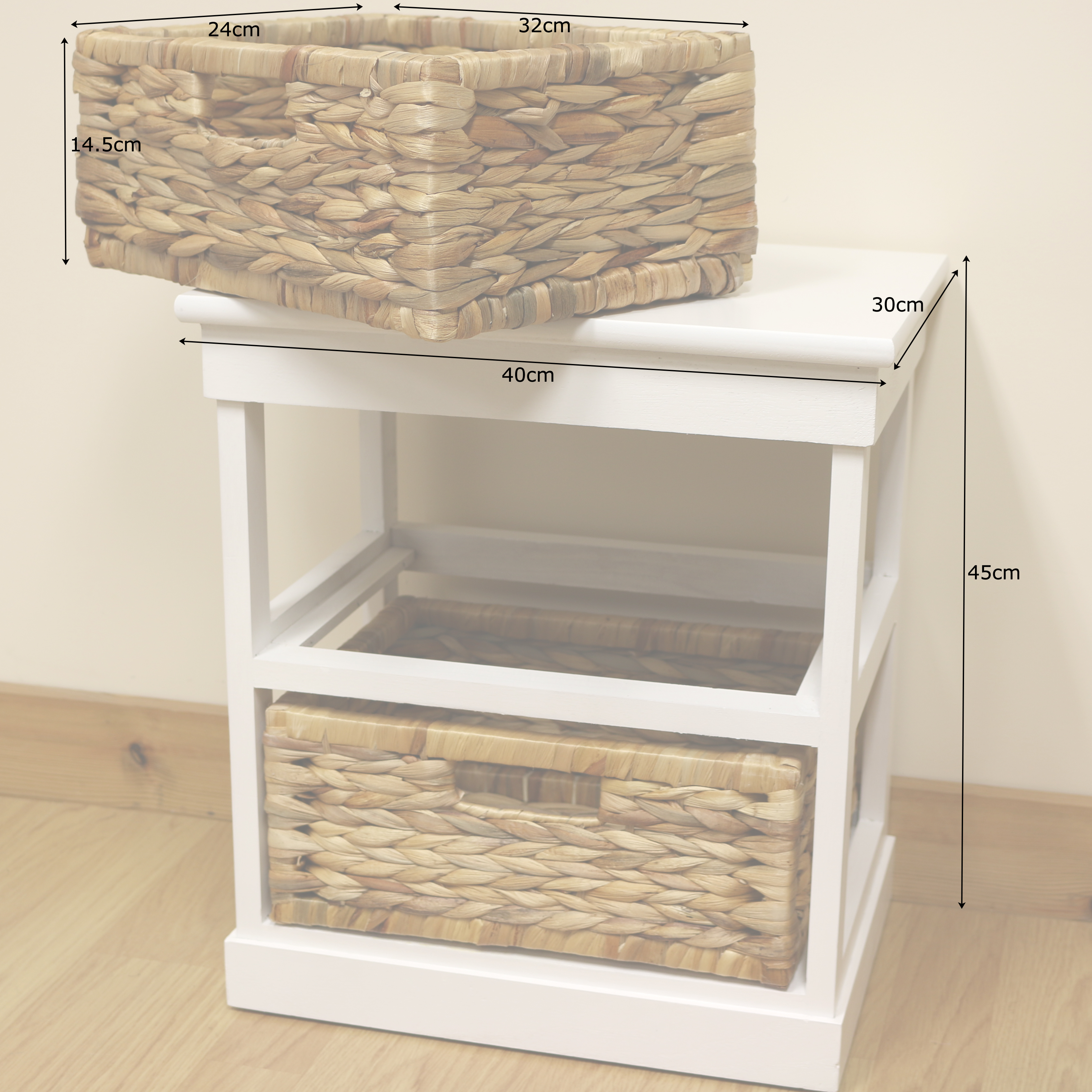 White 2 drawer basket bedside cabinet home storage unit for Bathroom cabinet with baskets