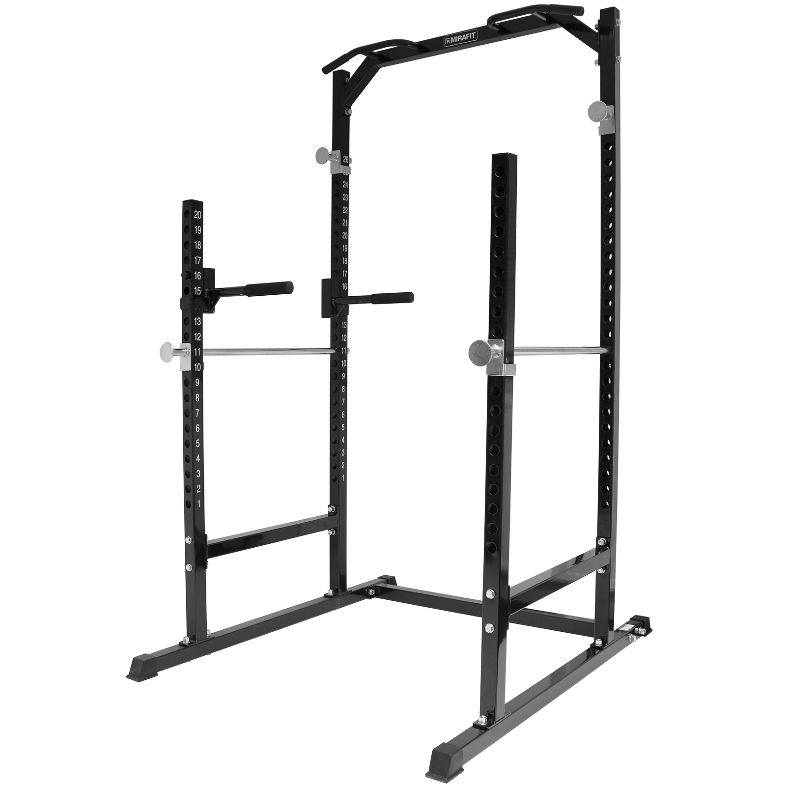 Mirafit Heavy Duty Half Power Cage Squat Gym Rack Bench Press Pull Up Dip Stand Ebay