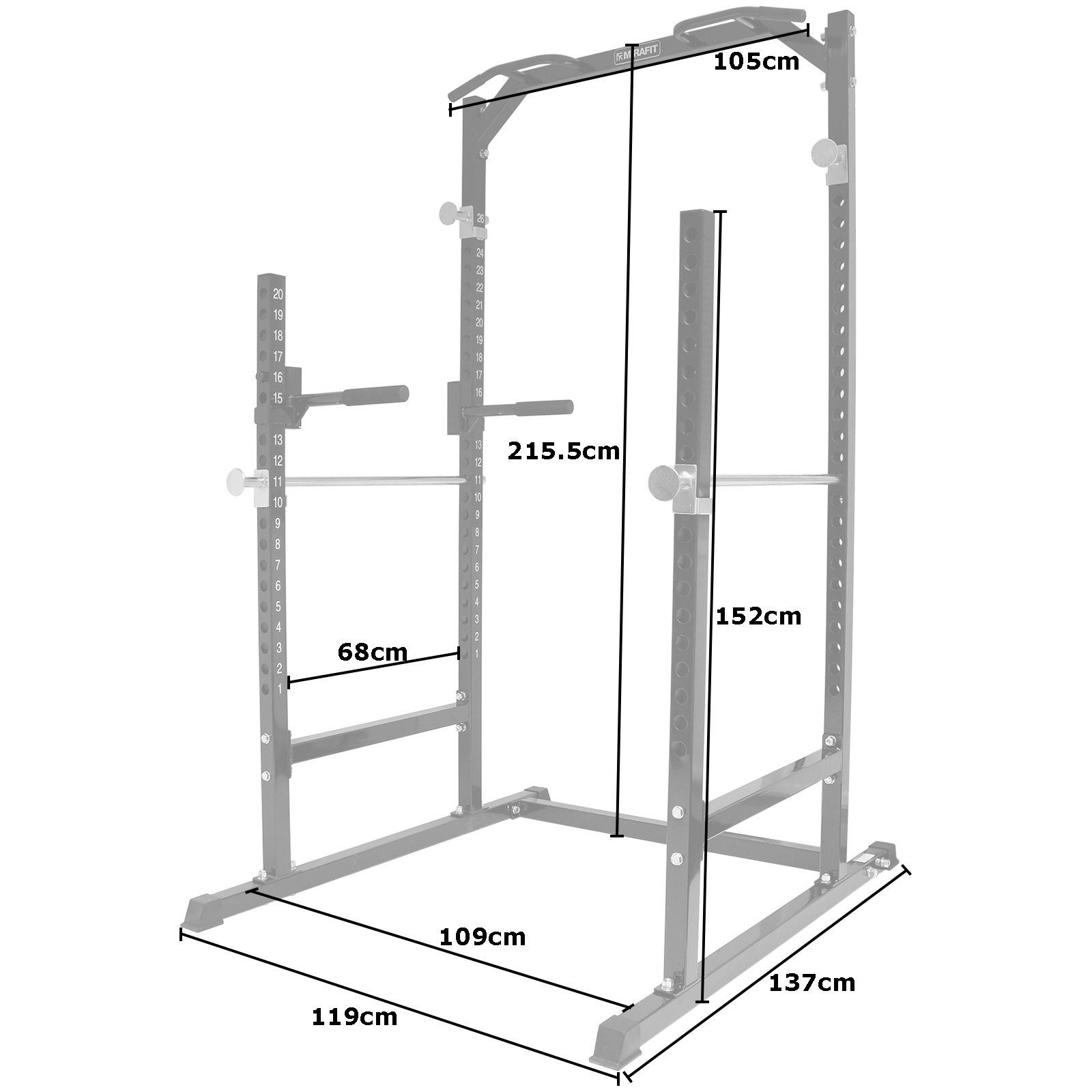 Power Rack Bench Press Safety: MIRAFIT Heavy Duty Half Power Cage Squat Gym Rack Bench