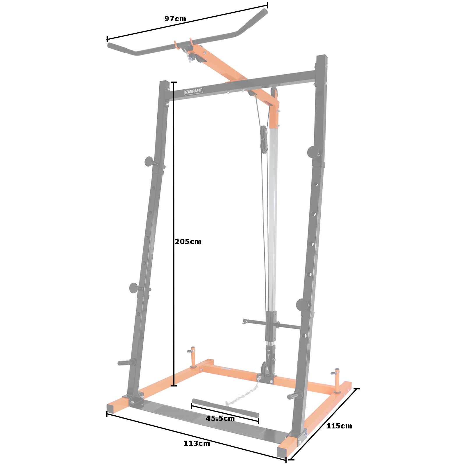 Mirafit barbell squat power rack lat pull down station for Squat station