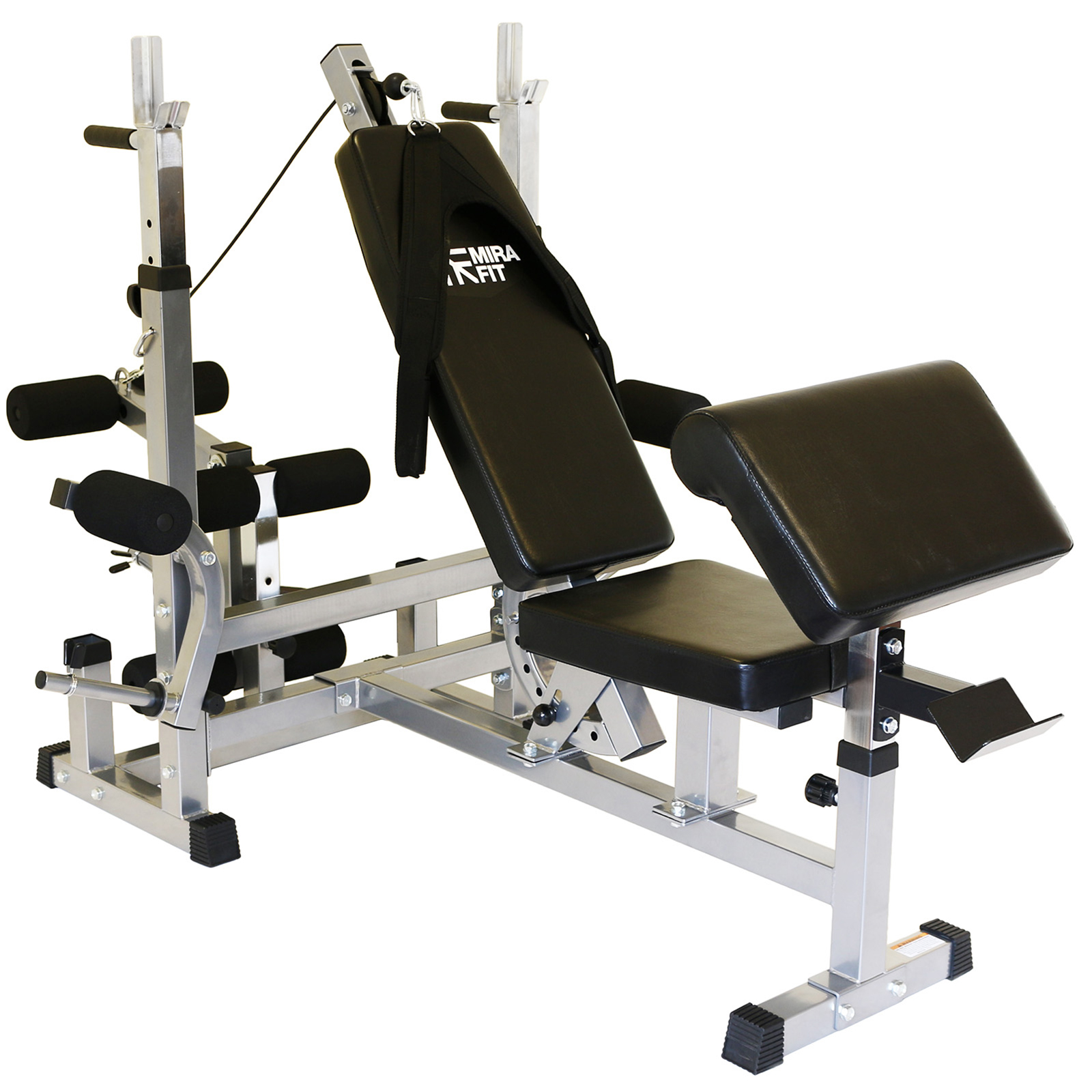 Mirafit Hd Adjustable Weight Bench Home Multi Gym With Dip Station Preacher Curl