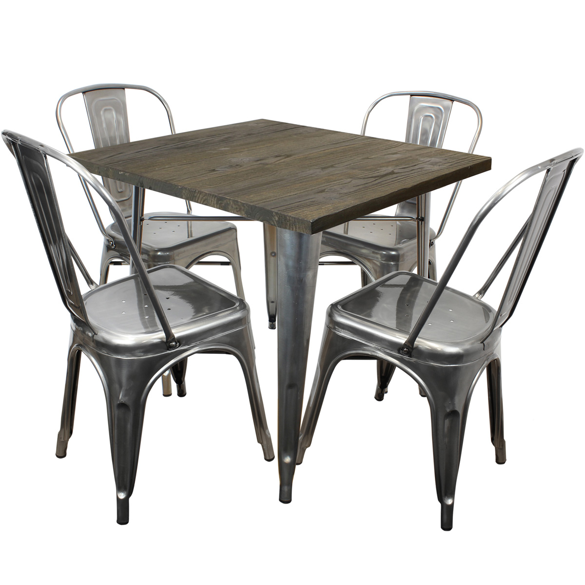 HARTLEYS WOOD TOP GUNMETAL INDUSTRIAL SQUARE DINING KITCHEN TABLE CHAIR