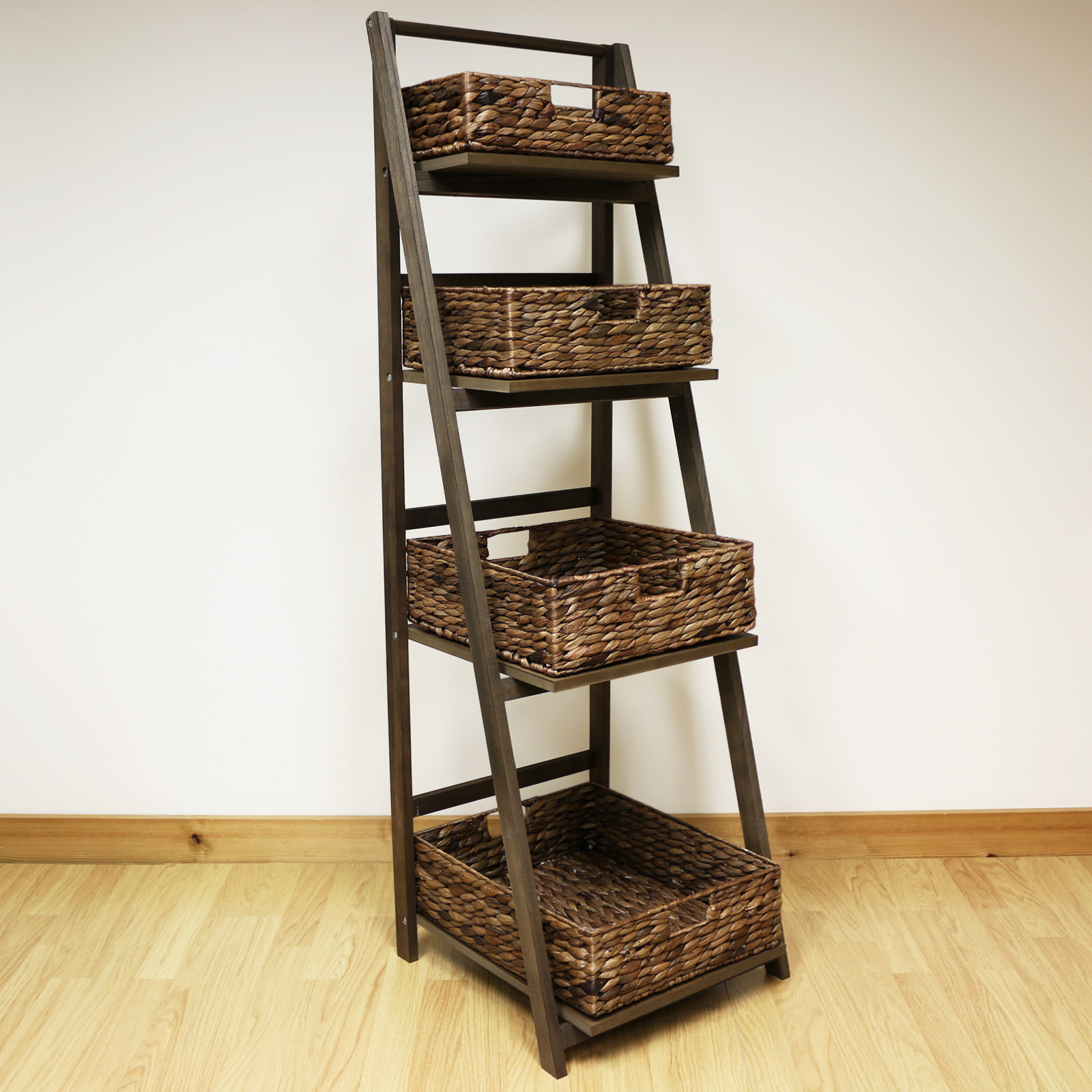 Wooden Ladder Shelf ~ Dark brown tier wooden ladder shelf display unit