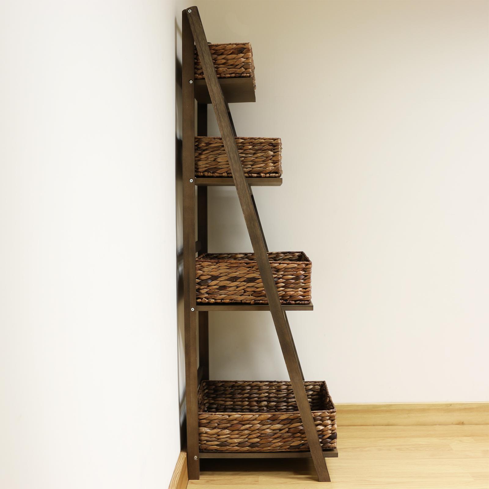 Dark Brown 4 Tier Wooden Ladder Shelf Display Unit