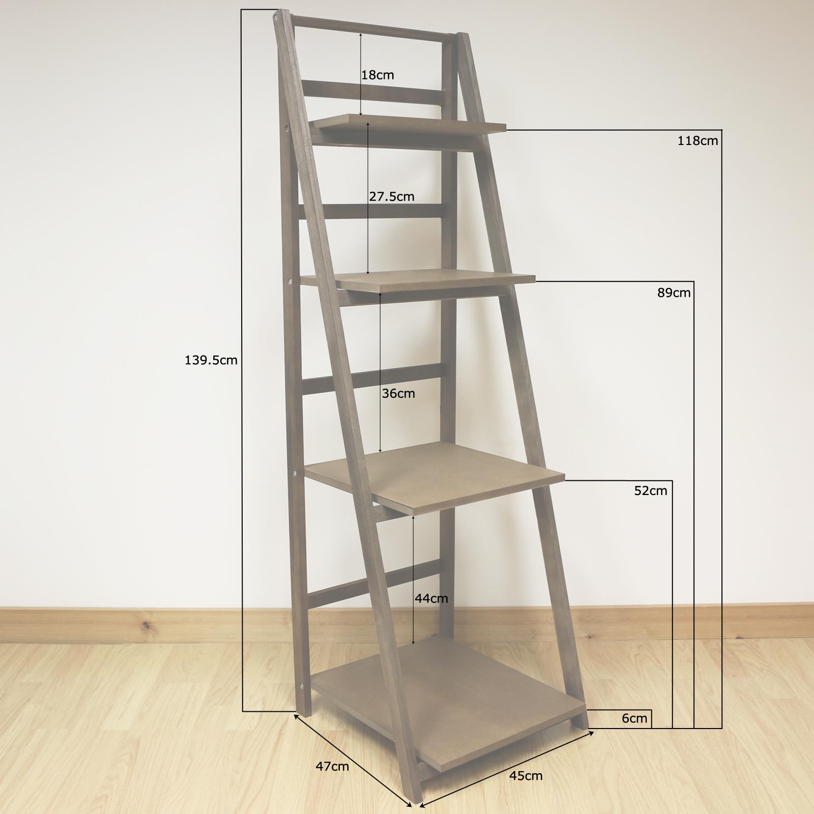 Marr n oscuro 4 niveles madera escalera estanter a soporte for Estanterias de mimbre
