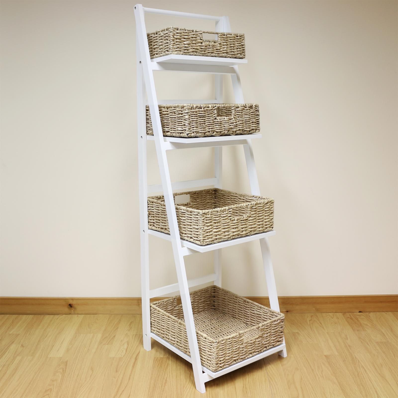 Kitchen Storage Ladder: White 4 Tier Wooden Ladder Shelf Display Unit & Natural