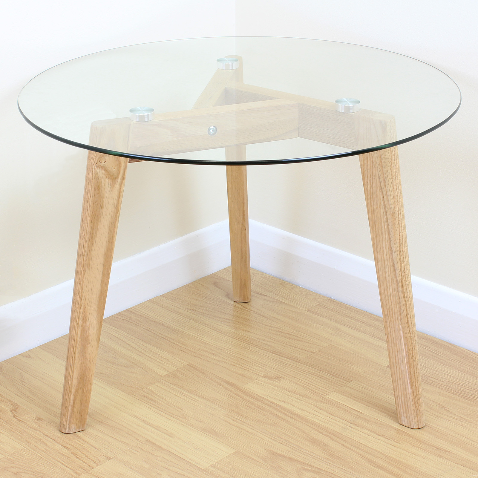 Solid Oak & Clear Glass Modern Round Side End Table Coffee