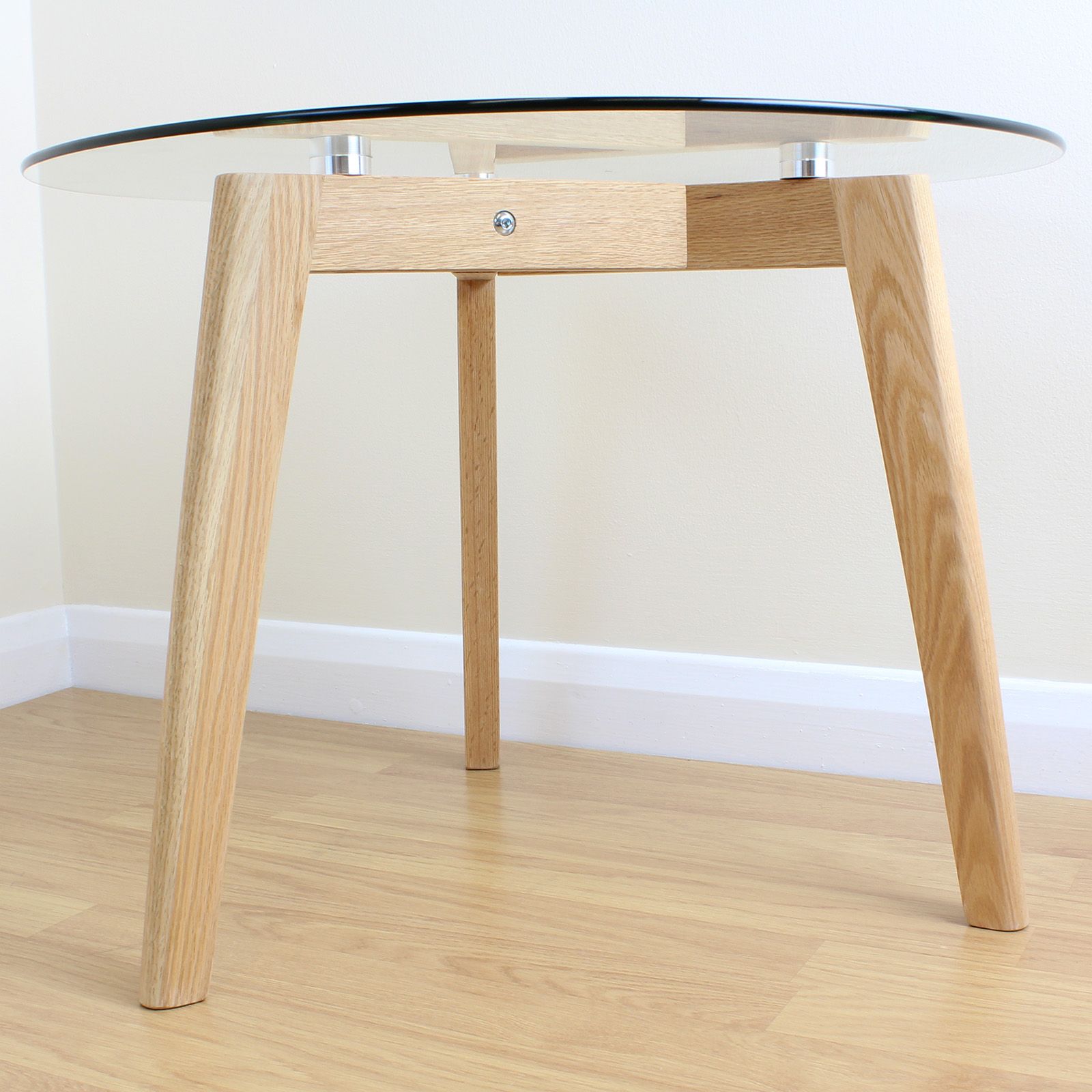 Solid oak clear glass modern round side end table coffee for Side table base