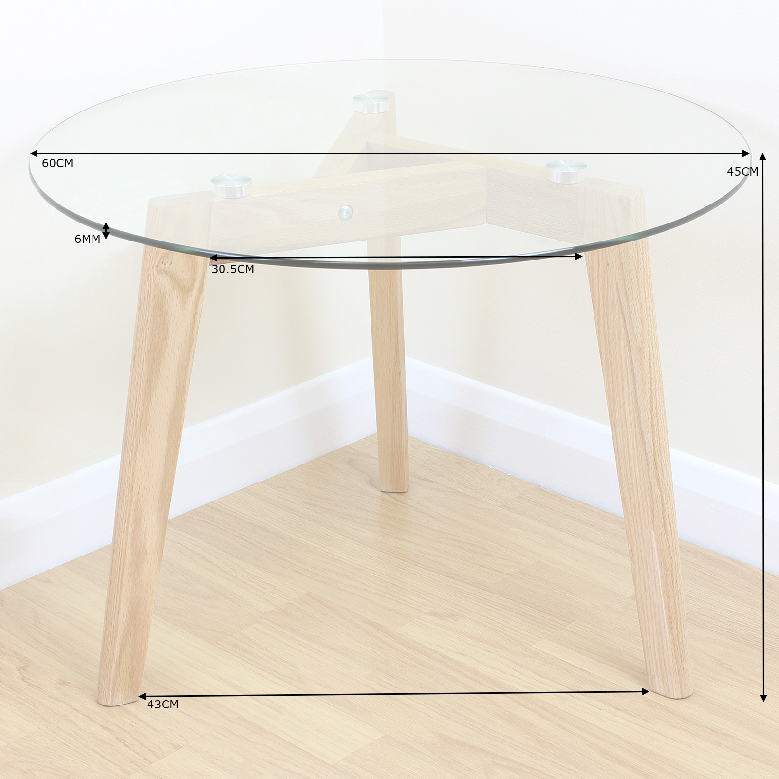 Ebay Oak And Glass Coffee Table: Solid Oak & Clear Glass Modern Round Side End Table Coffee