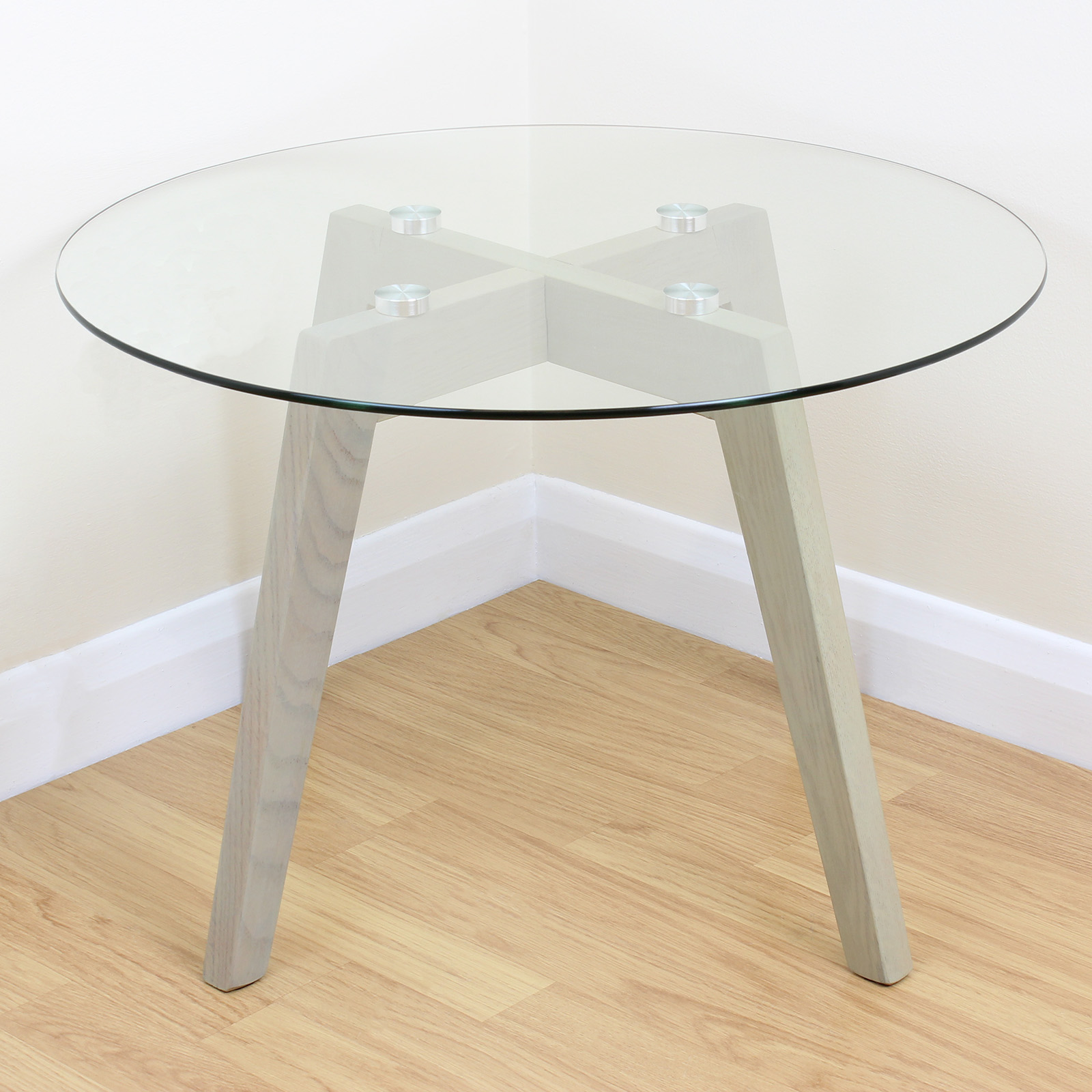 Limed oak clear glass modern round side end table coffee lamp stand solid wood ebay Clear coffee table