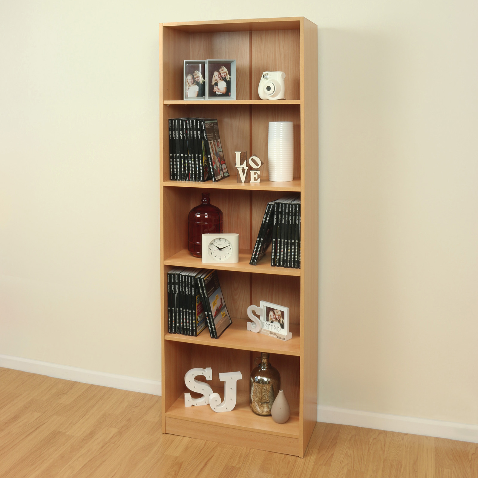 5 Tier Wooden Beech Home Office Bookcase Storage Display