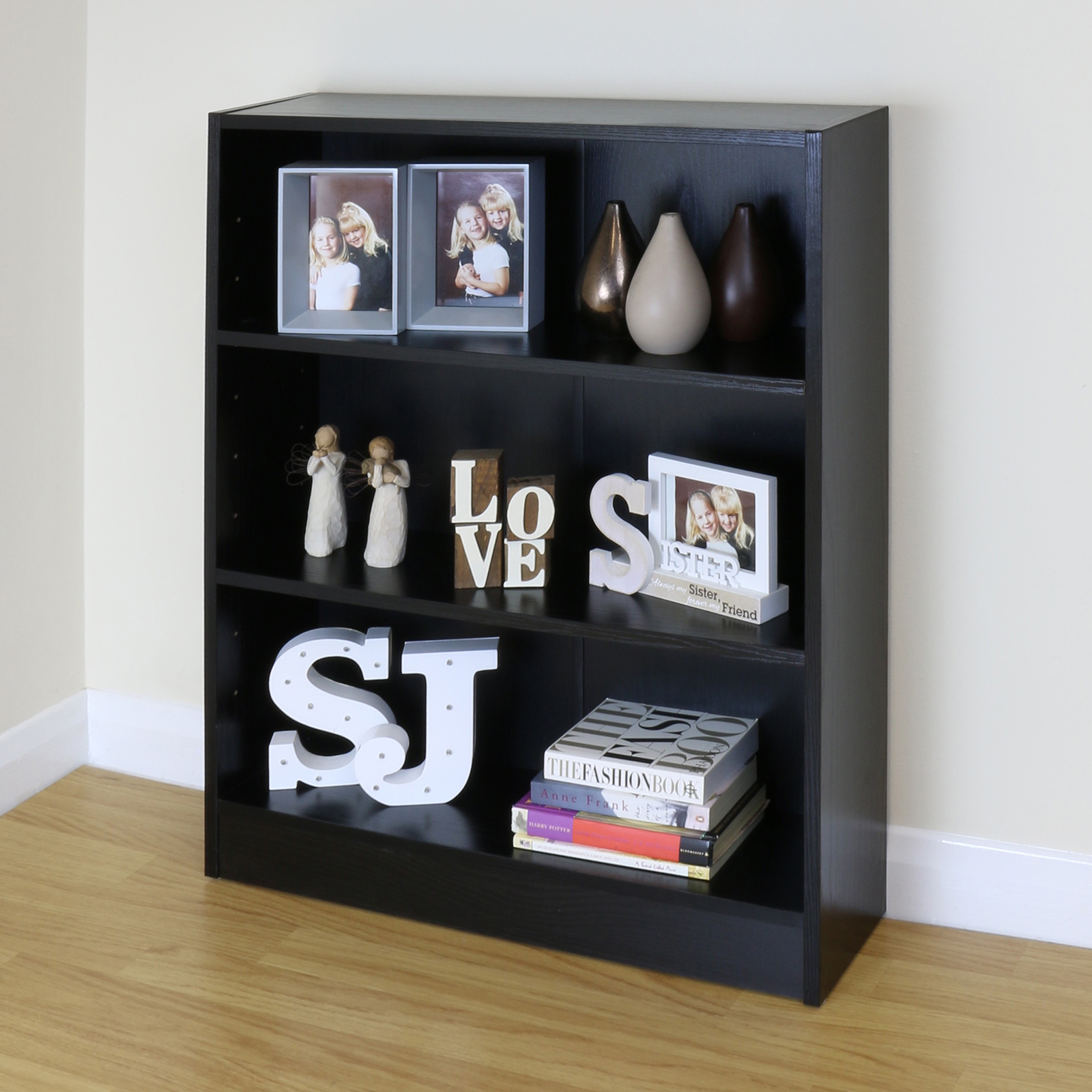 Black Wooden Bookcase ~ Tier wooden black home office bookcase storage display
